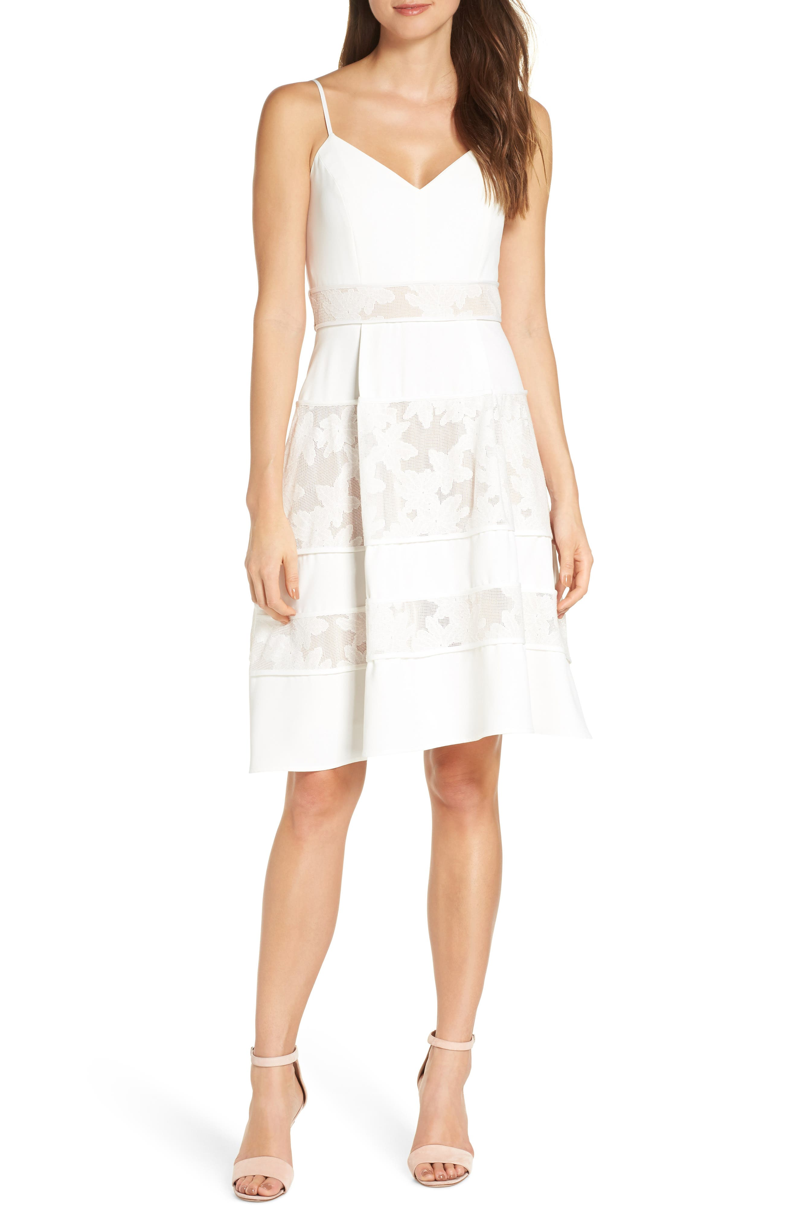 Adelyn Rae Elyse Lace Stripe Fit & Flare Dress, White