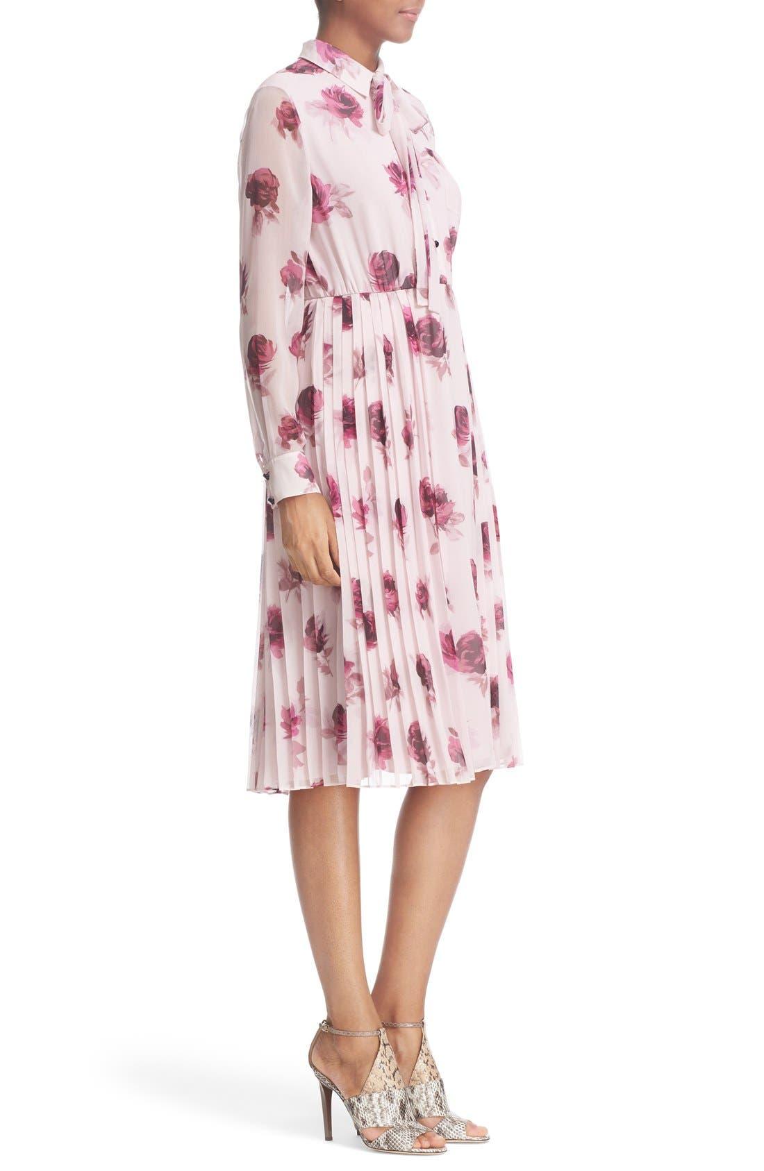 'encore rose' tie neck pleat chiffon dress,                             Alternate thumbnail 2, color,                             651