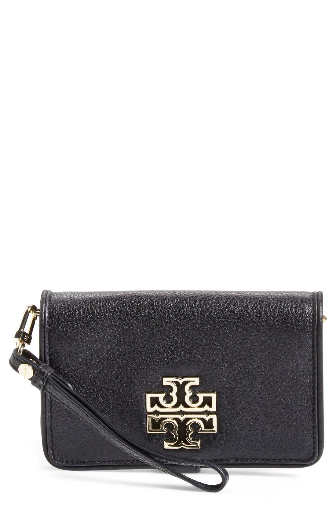 TORY BURCH 'Britten' Smartphone Wallet, Main, color, 001