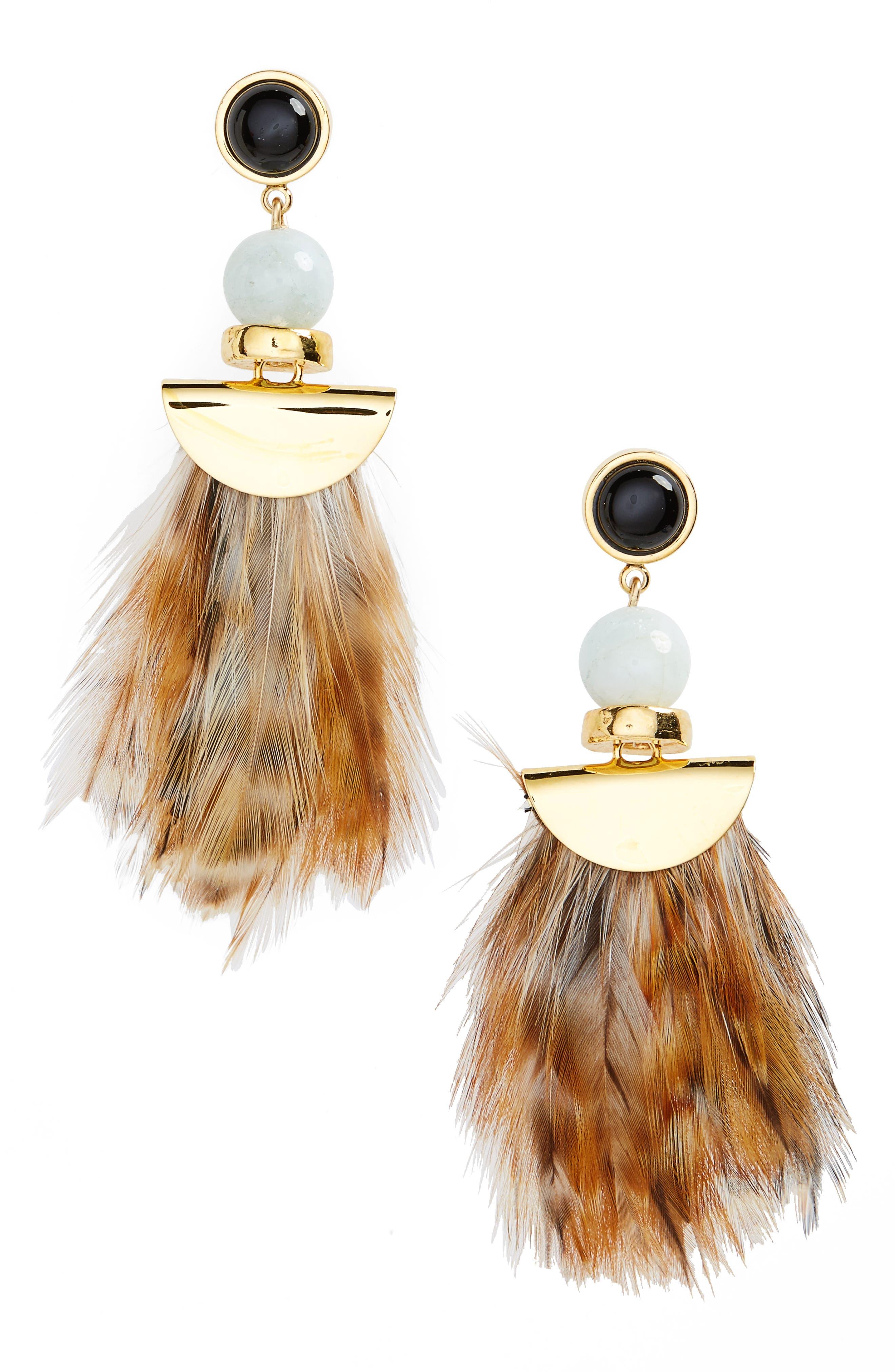 Feather Earrings,                             Main thumbnail 1, color,                             710