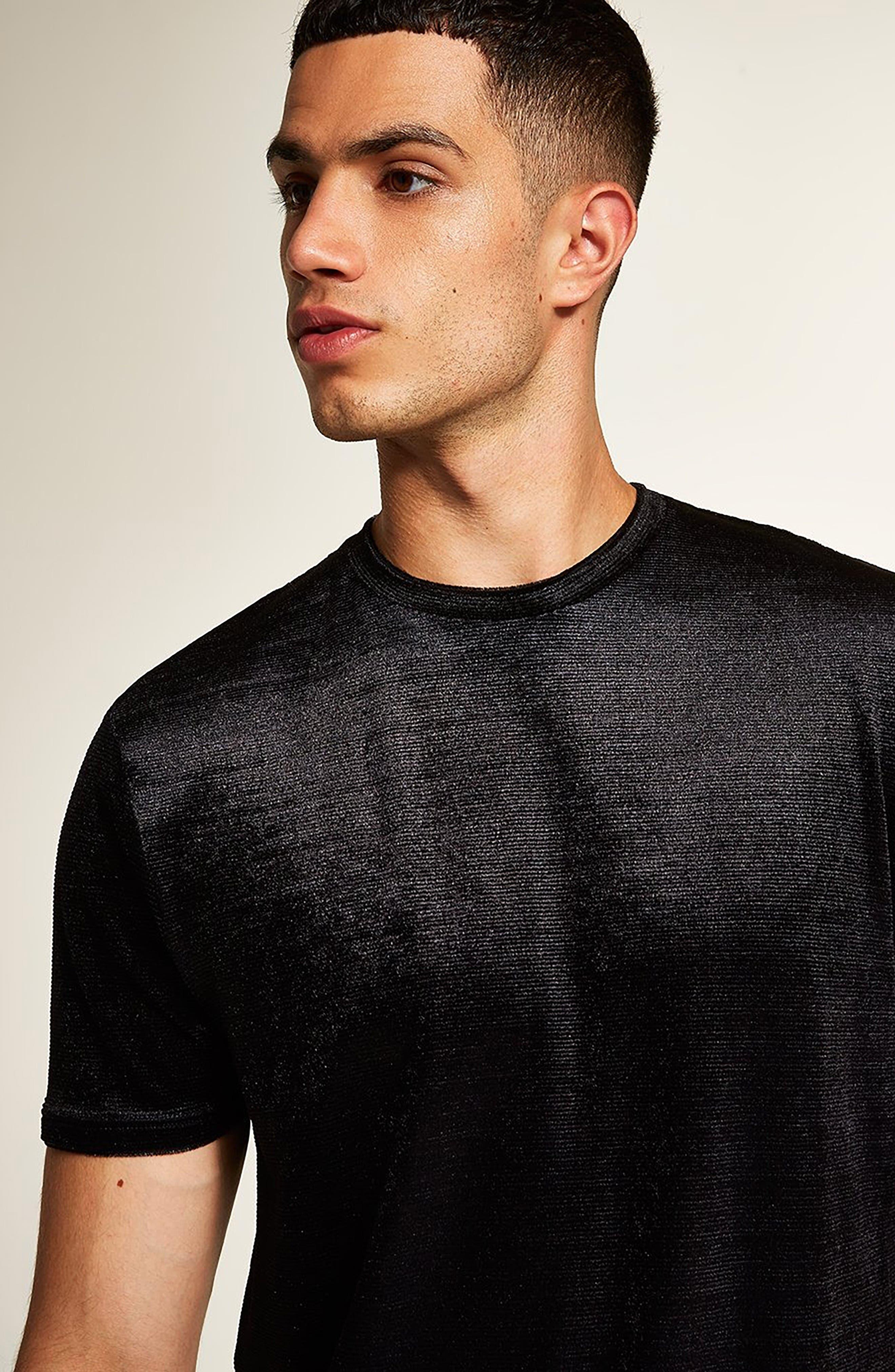 Topshop Velour Classic Fit T-Shirt,                             Alternate thumbnail 4, color,                             BLACK