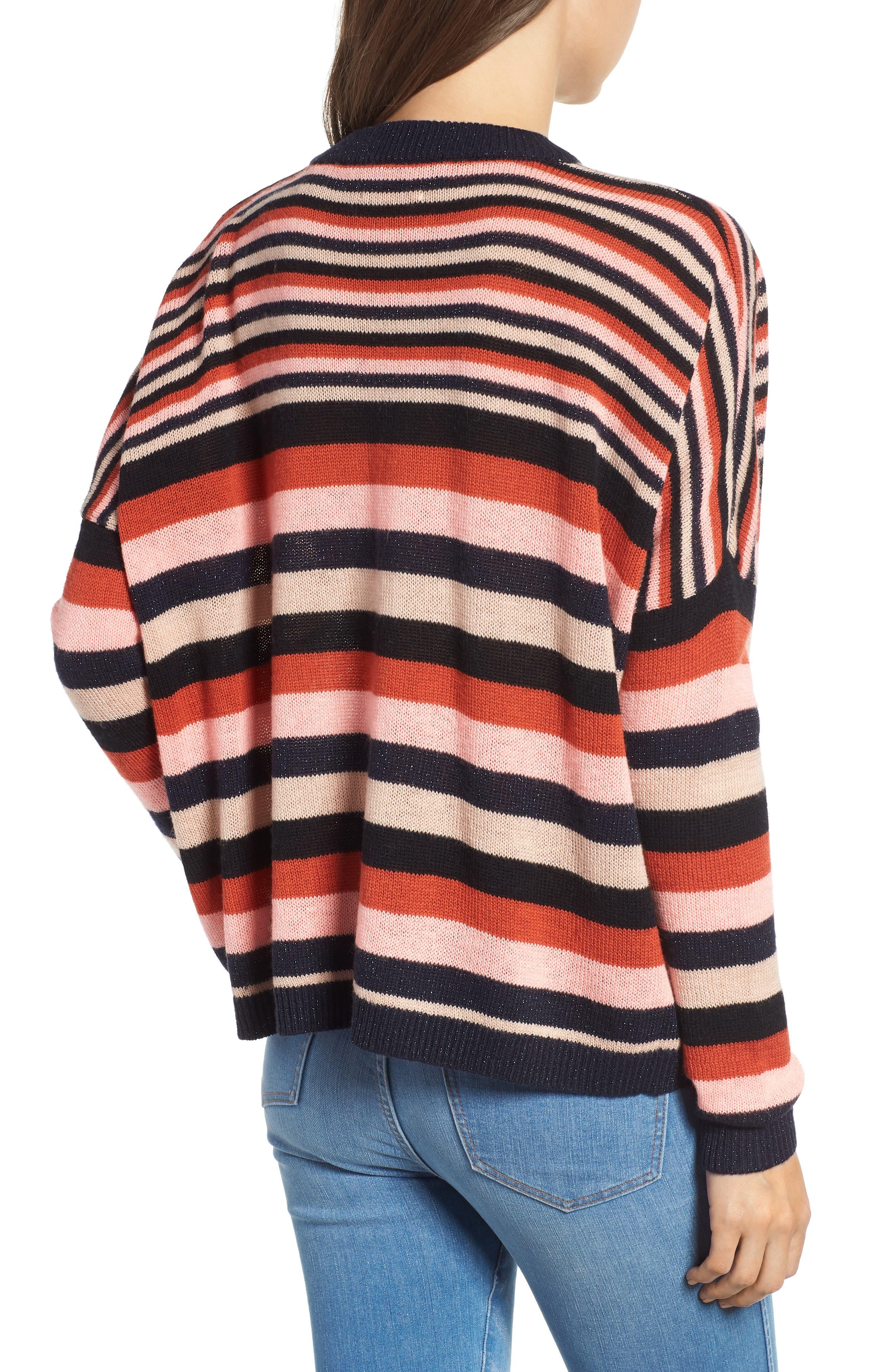 Stripe Sweater,                             Alternate thumbnail 2, color,                             PINK NAVY RUST STRIPE