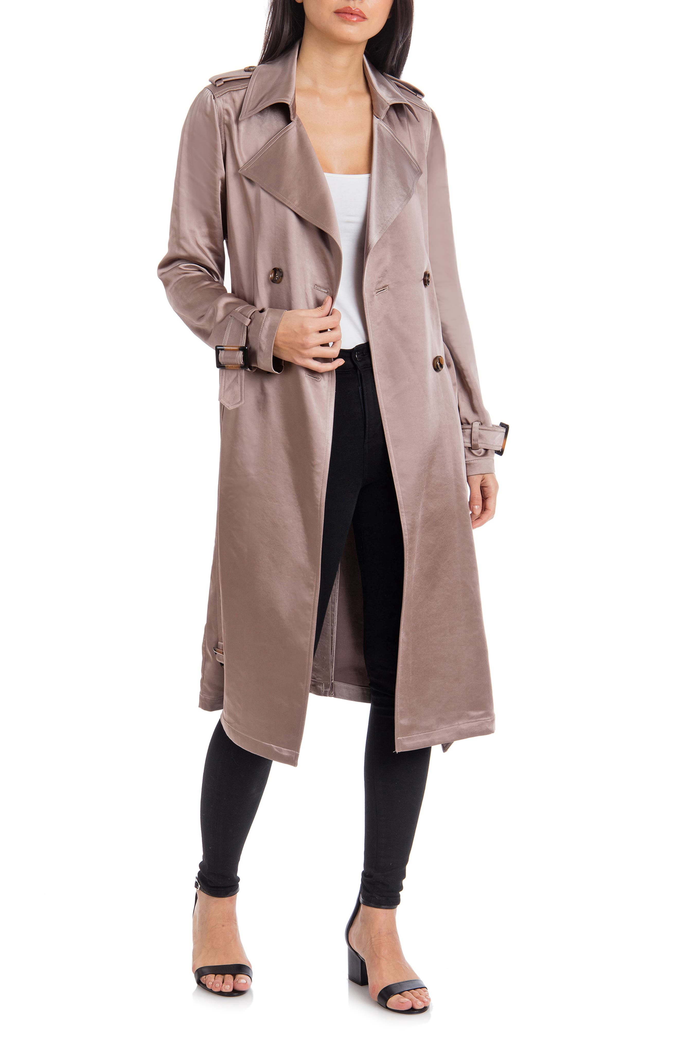BADGLEY MISCHKA COLLECTION,                             Badgley Mischka Double Breasted Satin Trench Coat,                             Main thumbnail 1, color,                             TAUPE