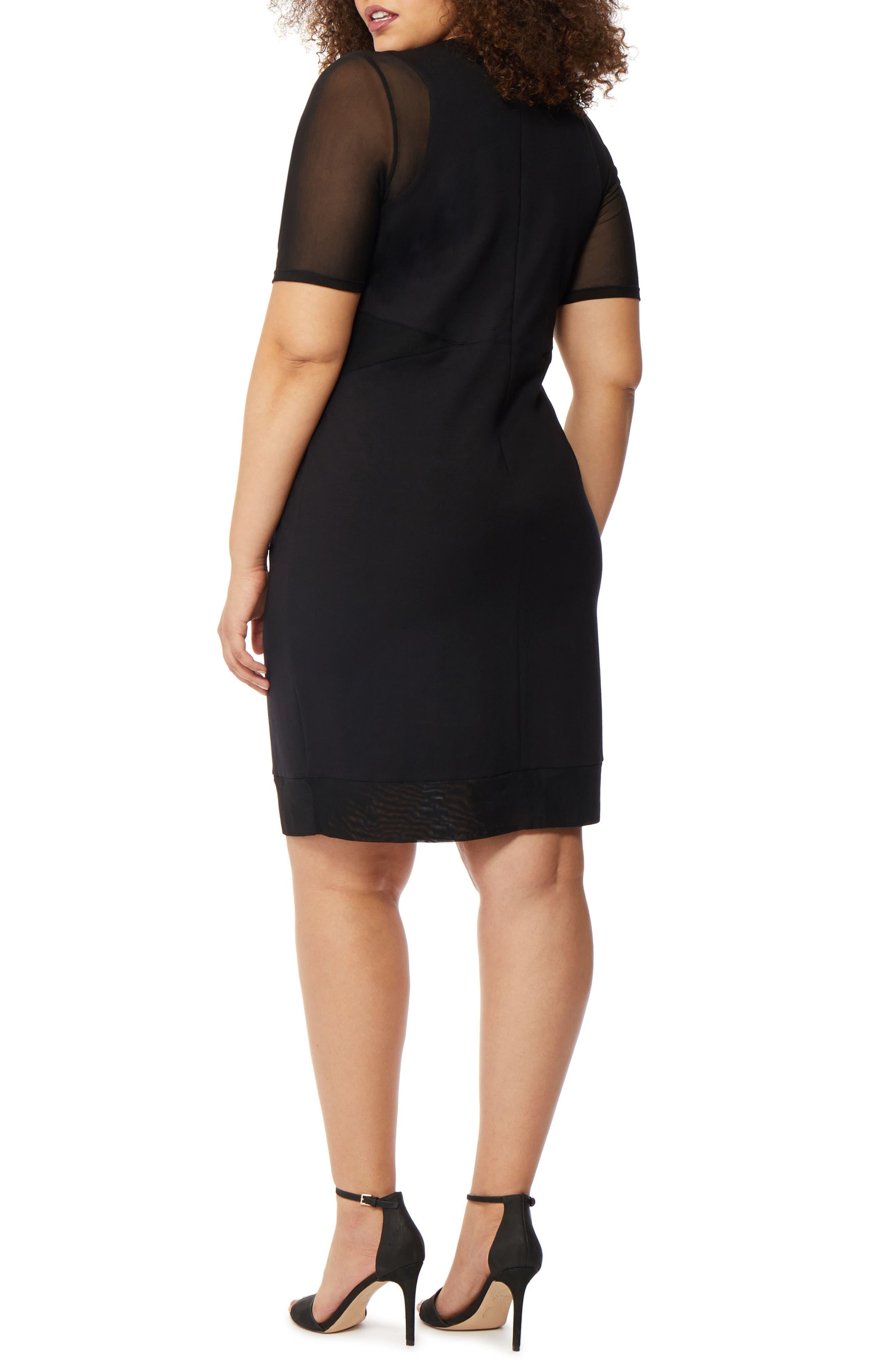 Mesh Sleeve Body-Con Dress,                             Alternate thumbnail 2, color,                             BLACK