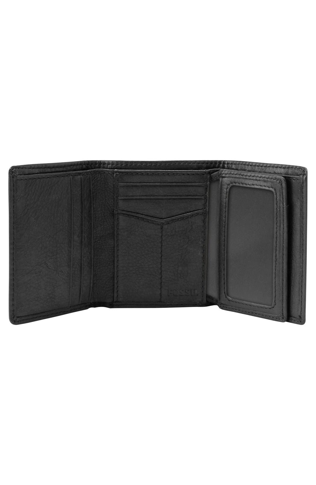 FOSSIL,                             'Ingram' Leather Trifold Wallet,                             Alternate thumbnail 3, color,                             001