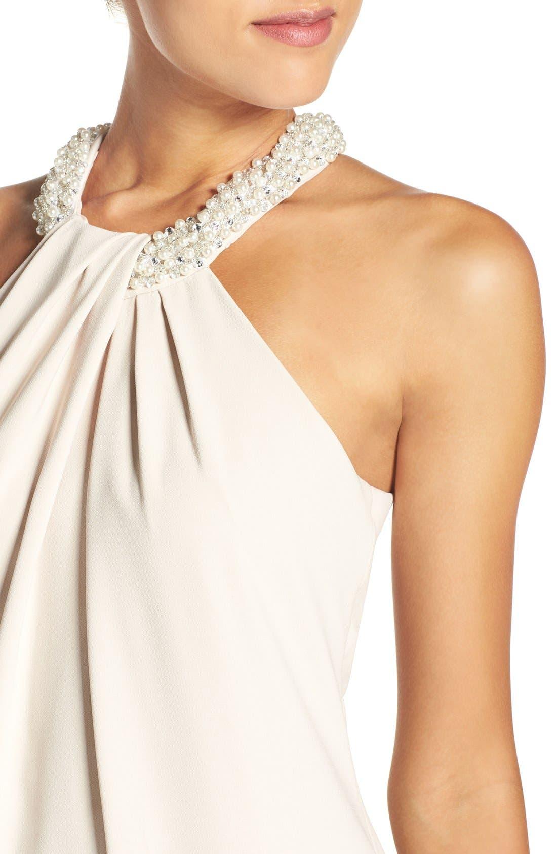 Beaded Halter Neck Crepe Gown,                             Alternate thumbnail 7, color,