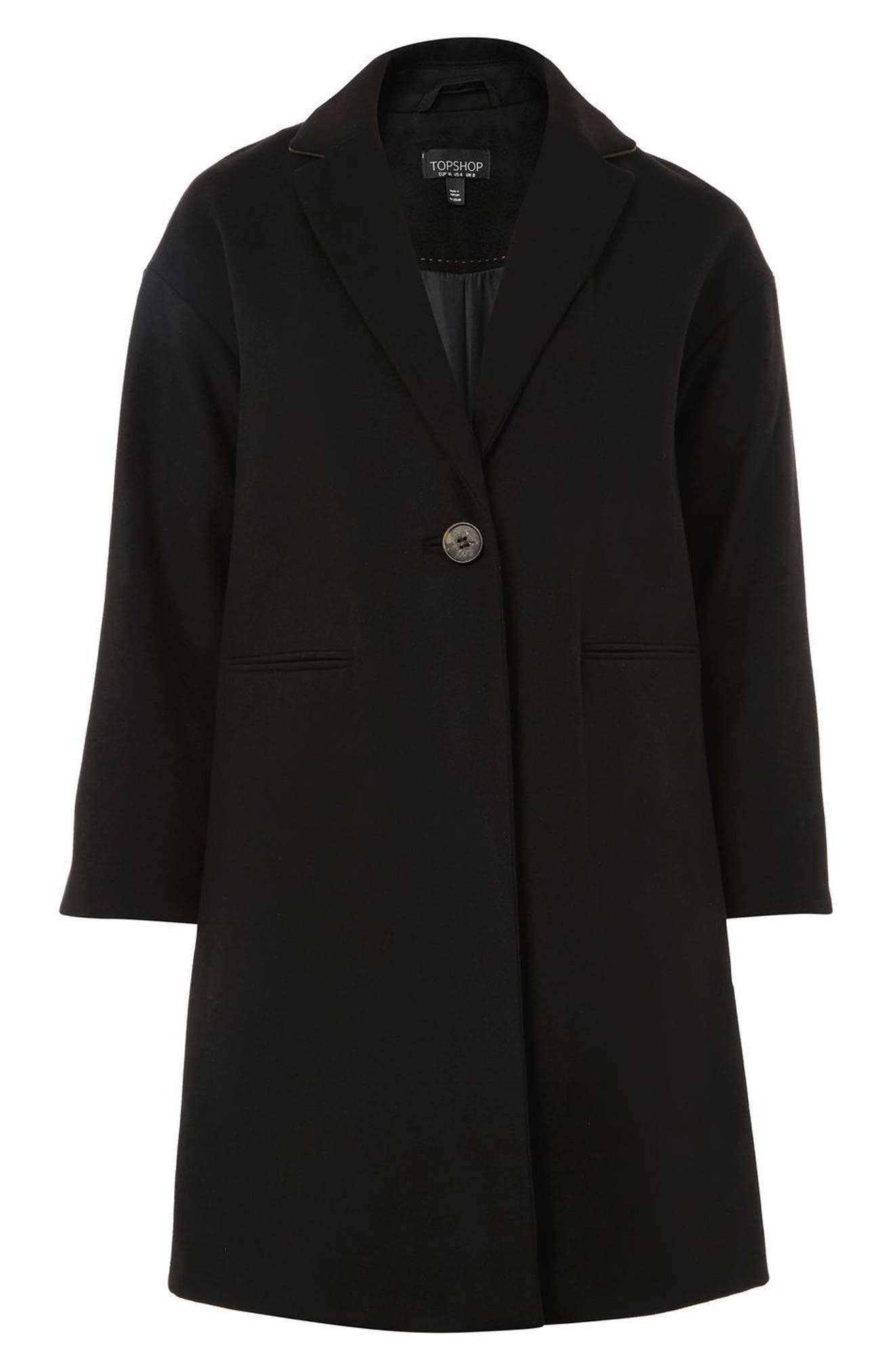 Millie Relaxed Fit Coat,                             Alternate thumbnail 4, color,                             001