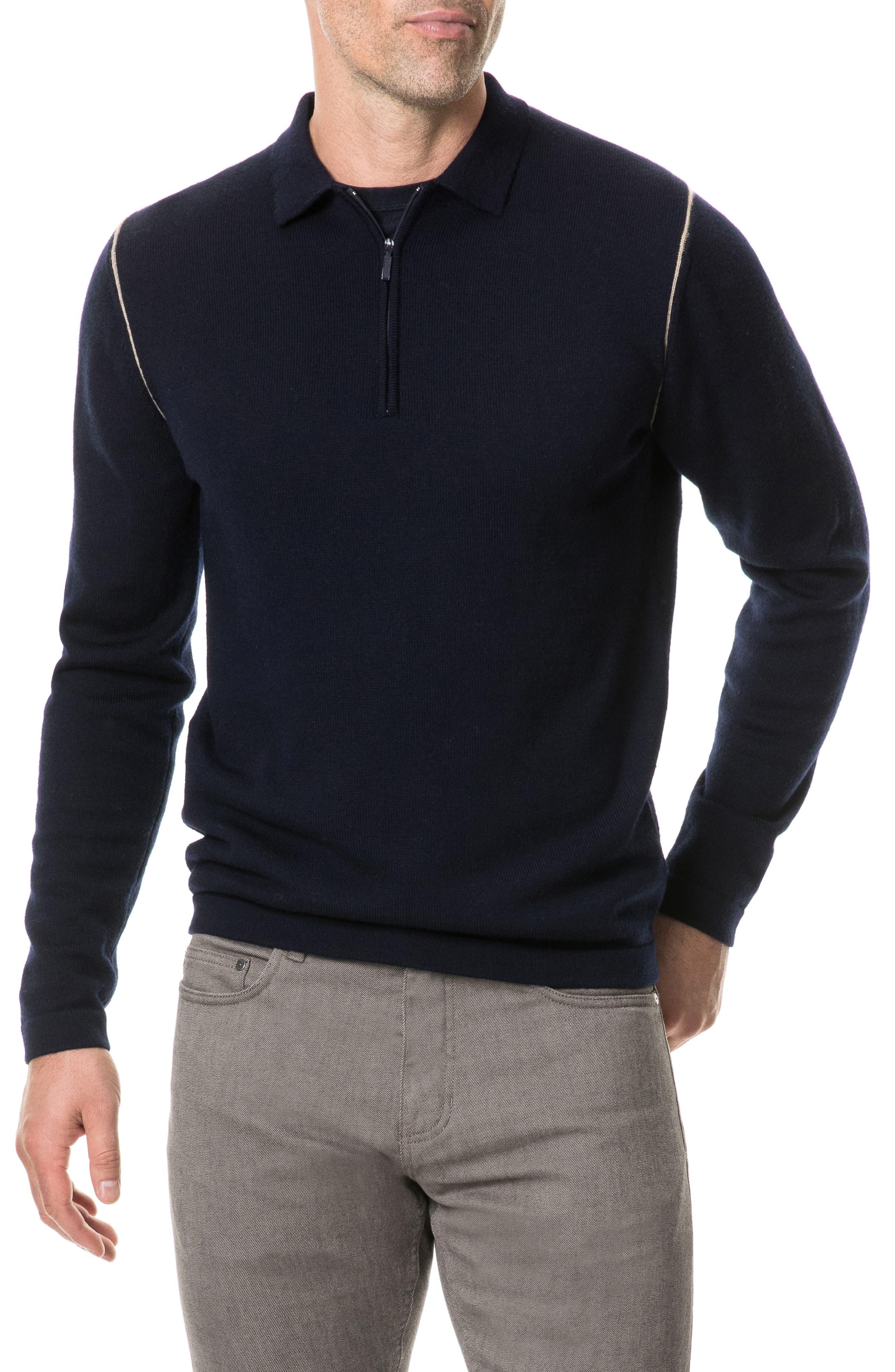 Revill Reserve Merino Wool Zip Polo,                         Main,                         color, MARINE