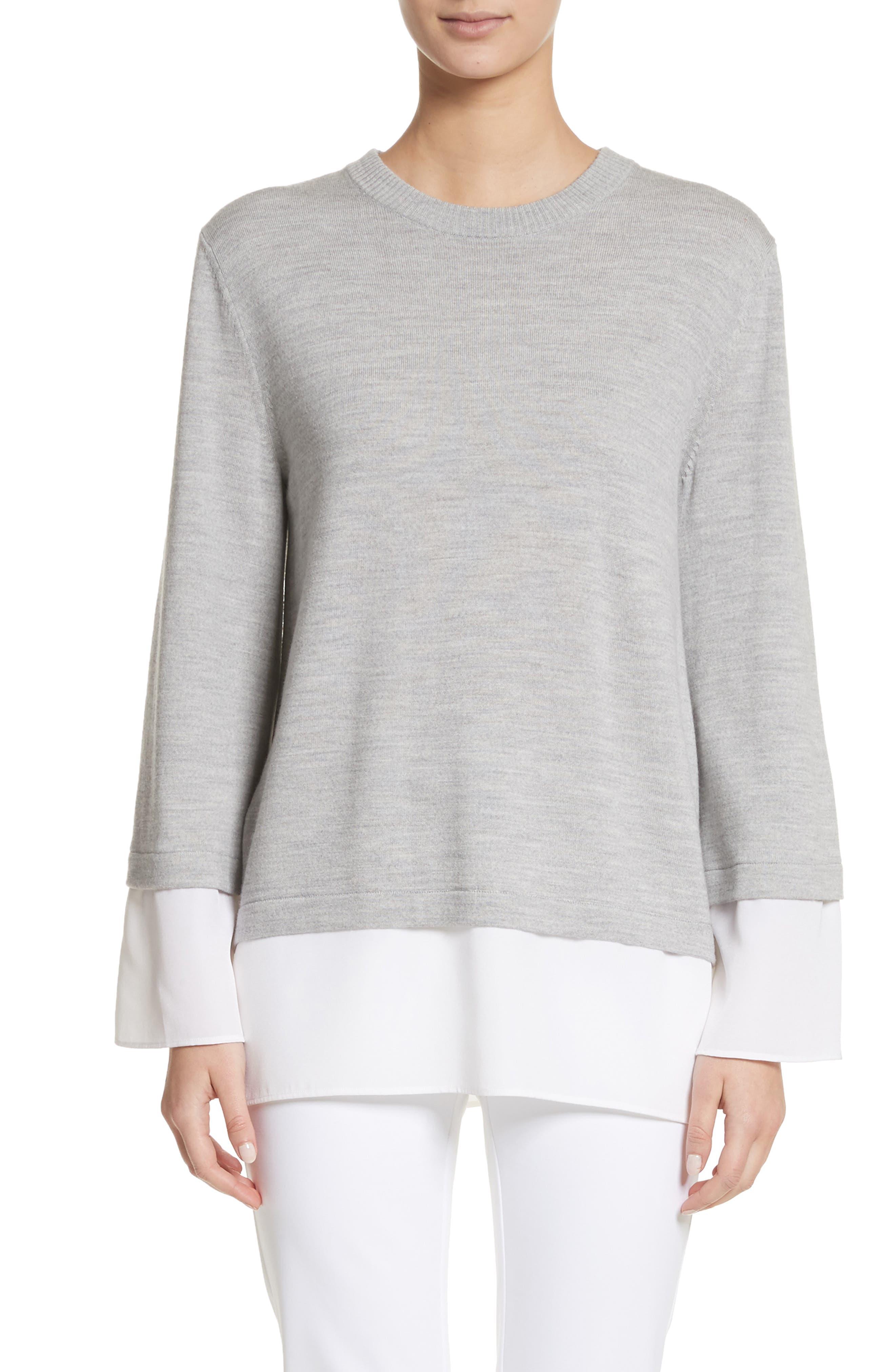 Layered Hem Wool Sweater,                             Main thumbnail 1, color,                             050
