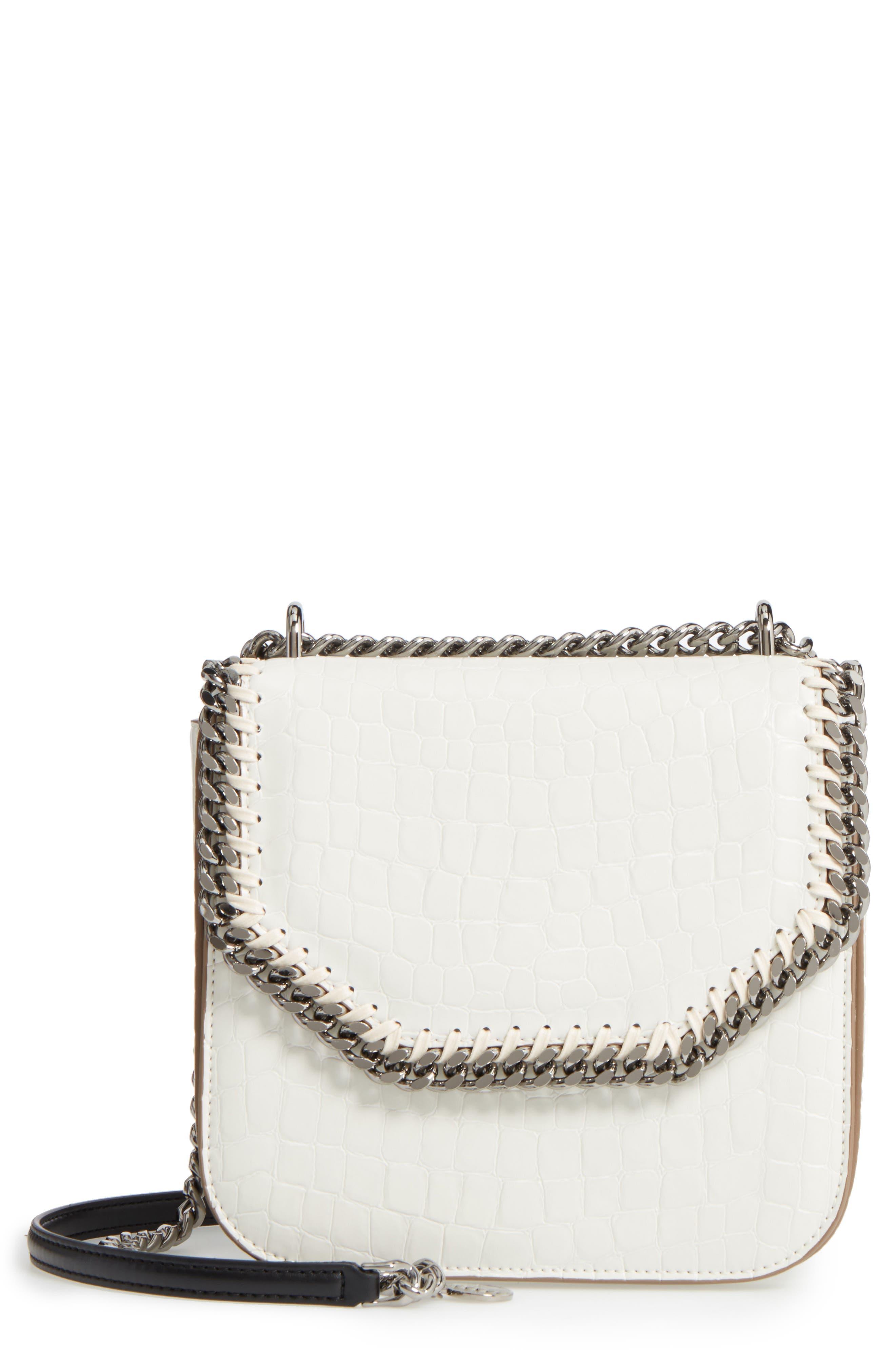 Medium Falabella Box Croc-Embossed Faux Leather Shoulder Bag,                             Main thumbnail 1, color,                             102