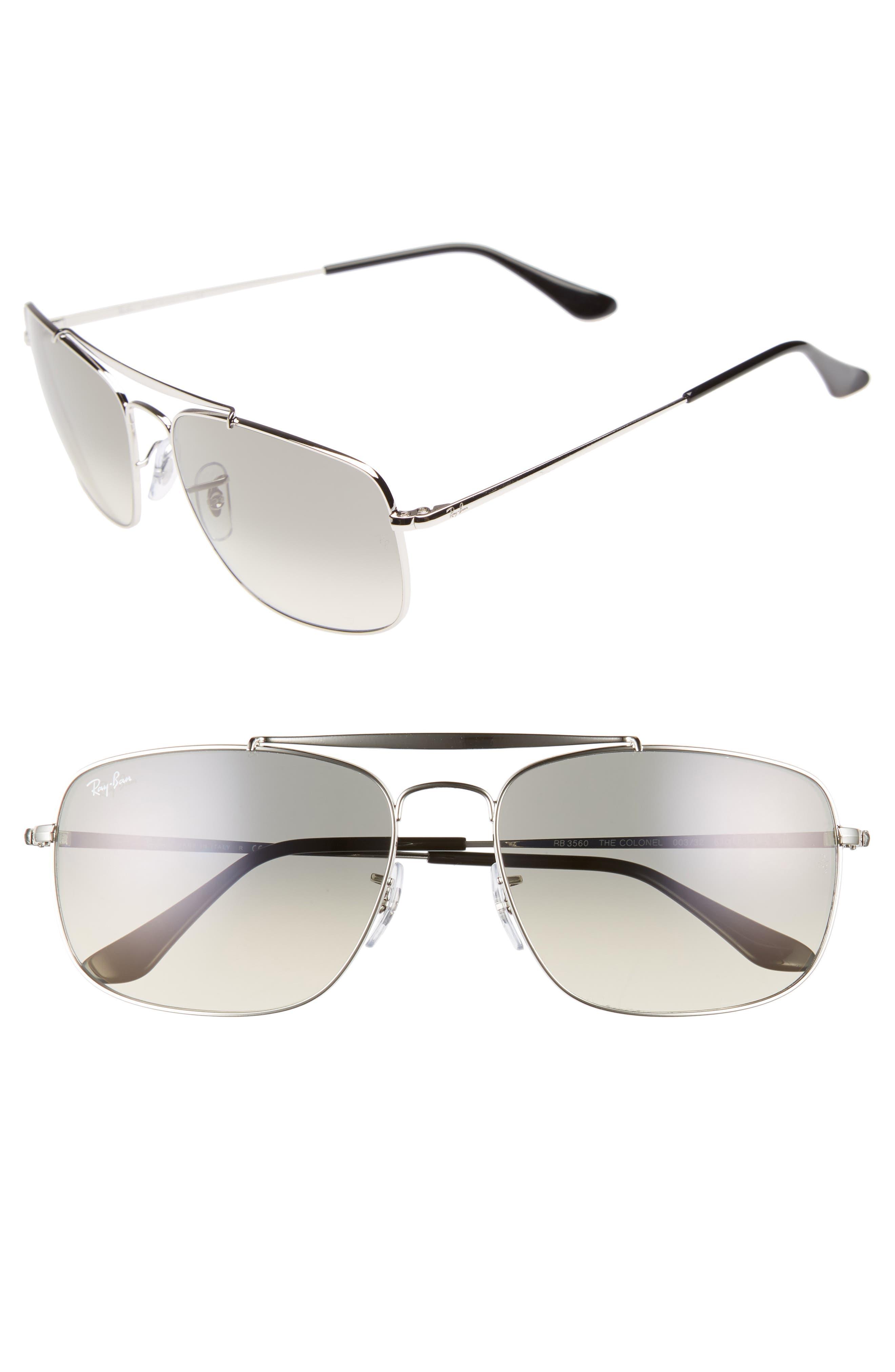 The Colonel 61mm Aviator Sunglasses,                         Main,                         color, SILVER