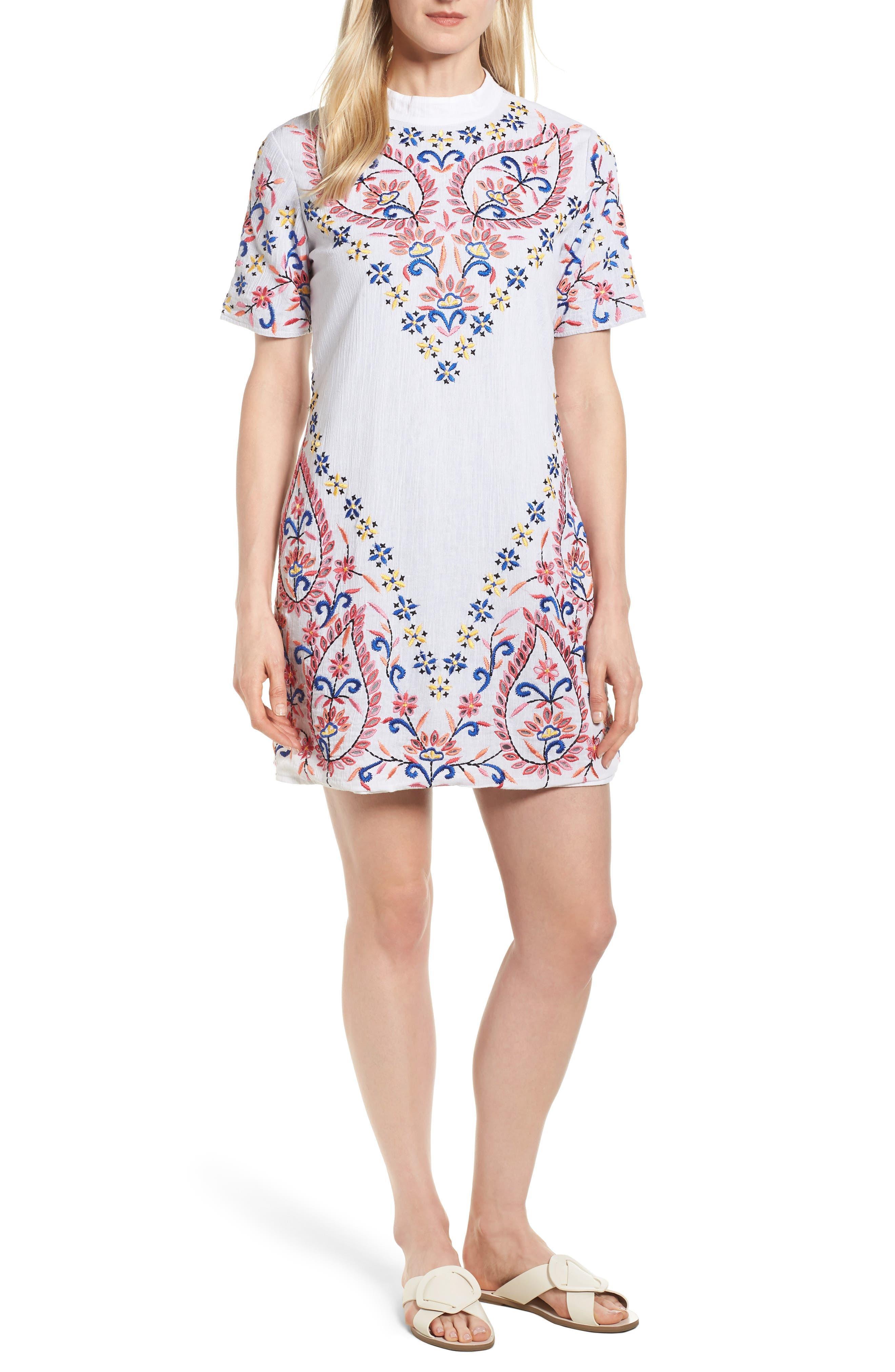 Fleur Embroidered Cotton Minidress,                             Main thumbnail 1, color,                             WHITE