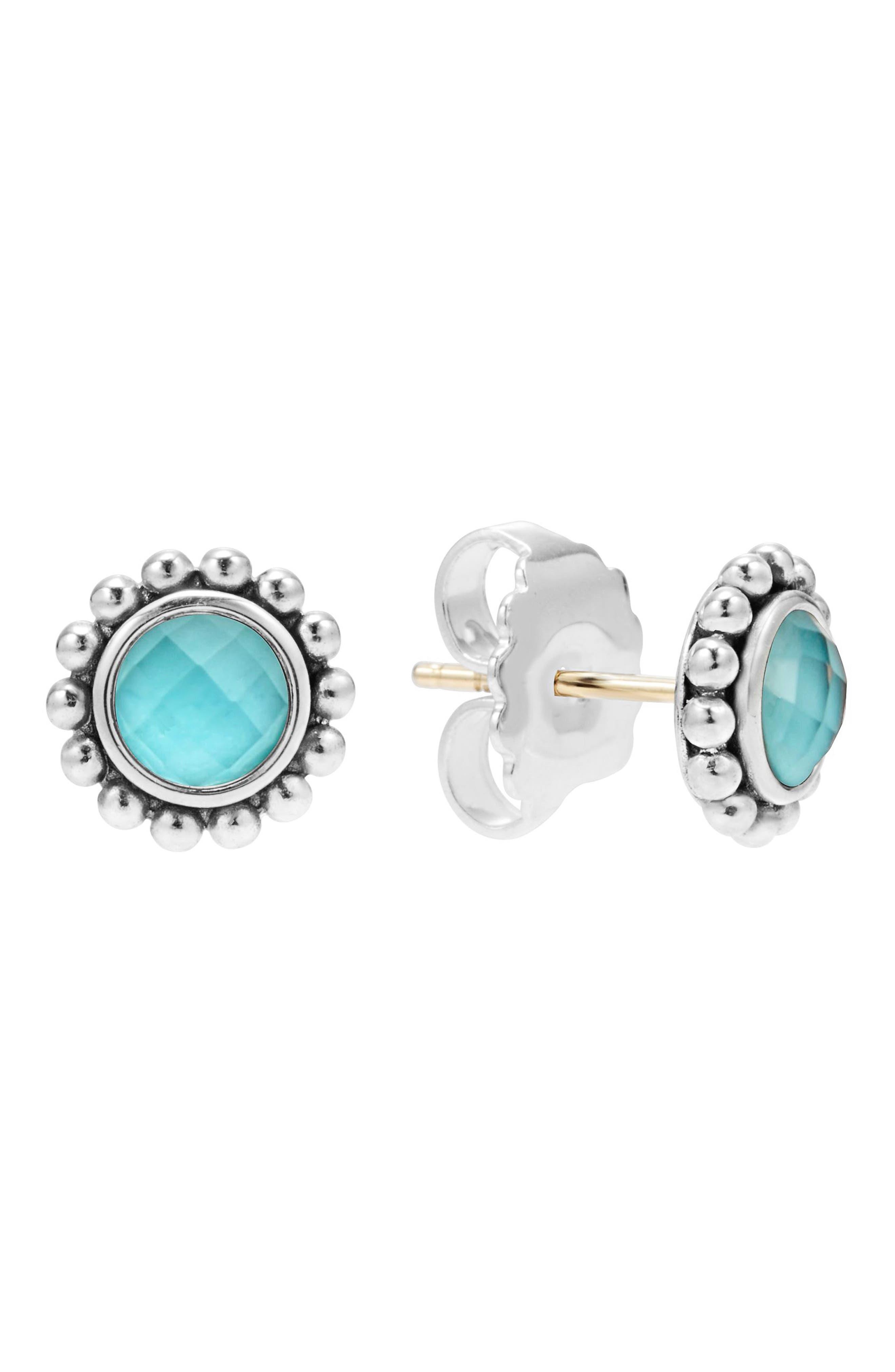 Maya Doublet Stud Earrings,                         Main,                         color, TURQUOISE