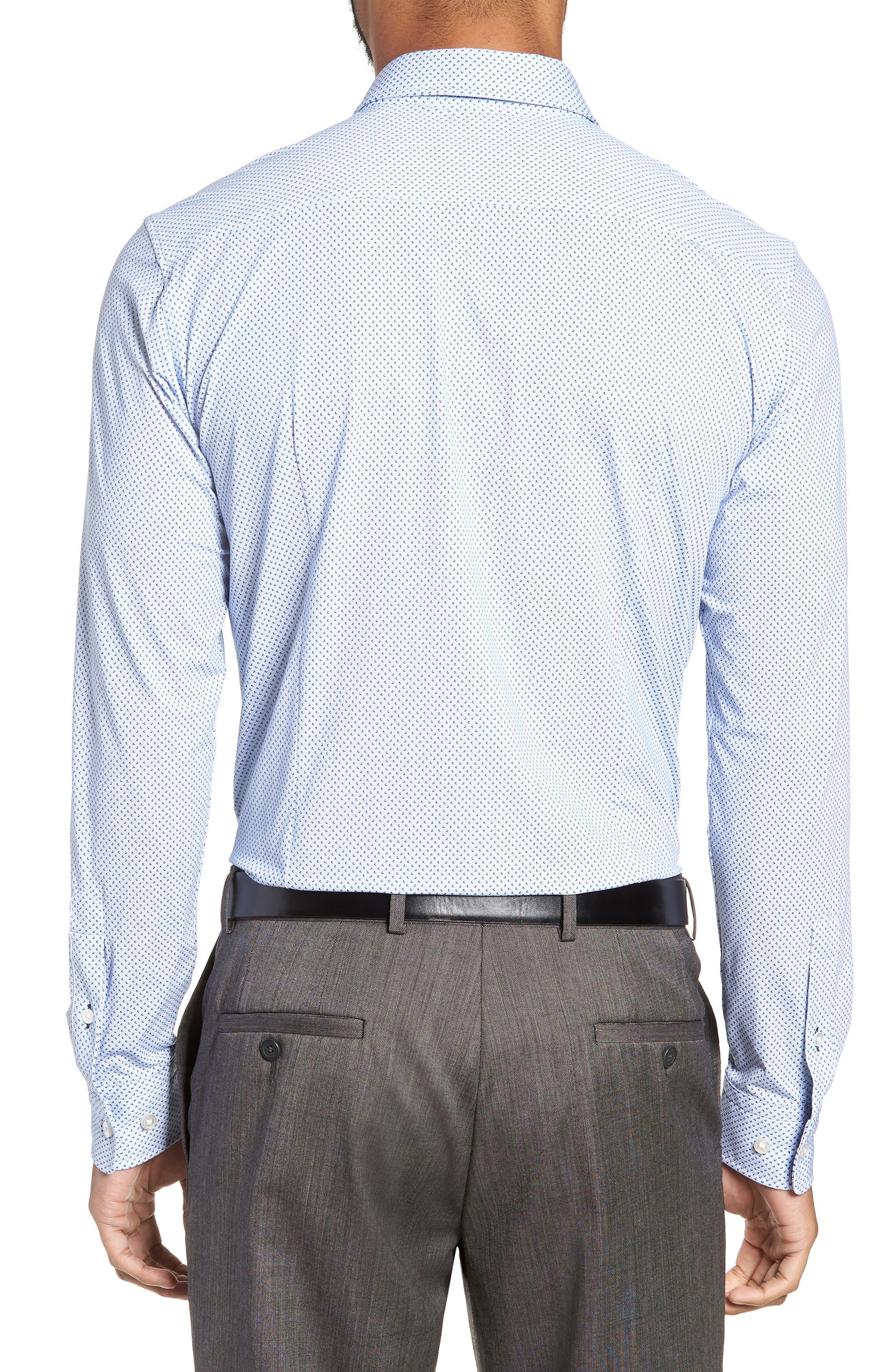Ronni Slim Fit Performance Sport Shirt,                             Alternate thumbnail 3, color,                             BLUE
