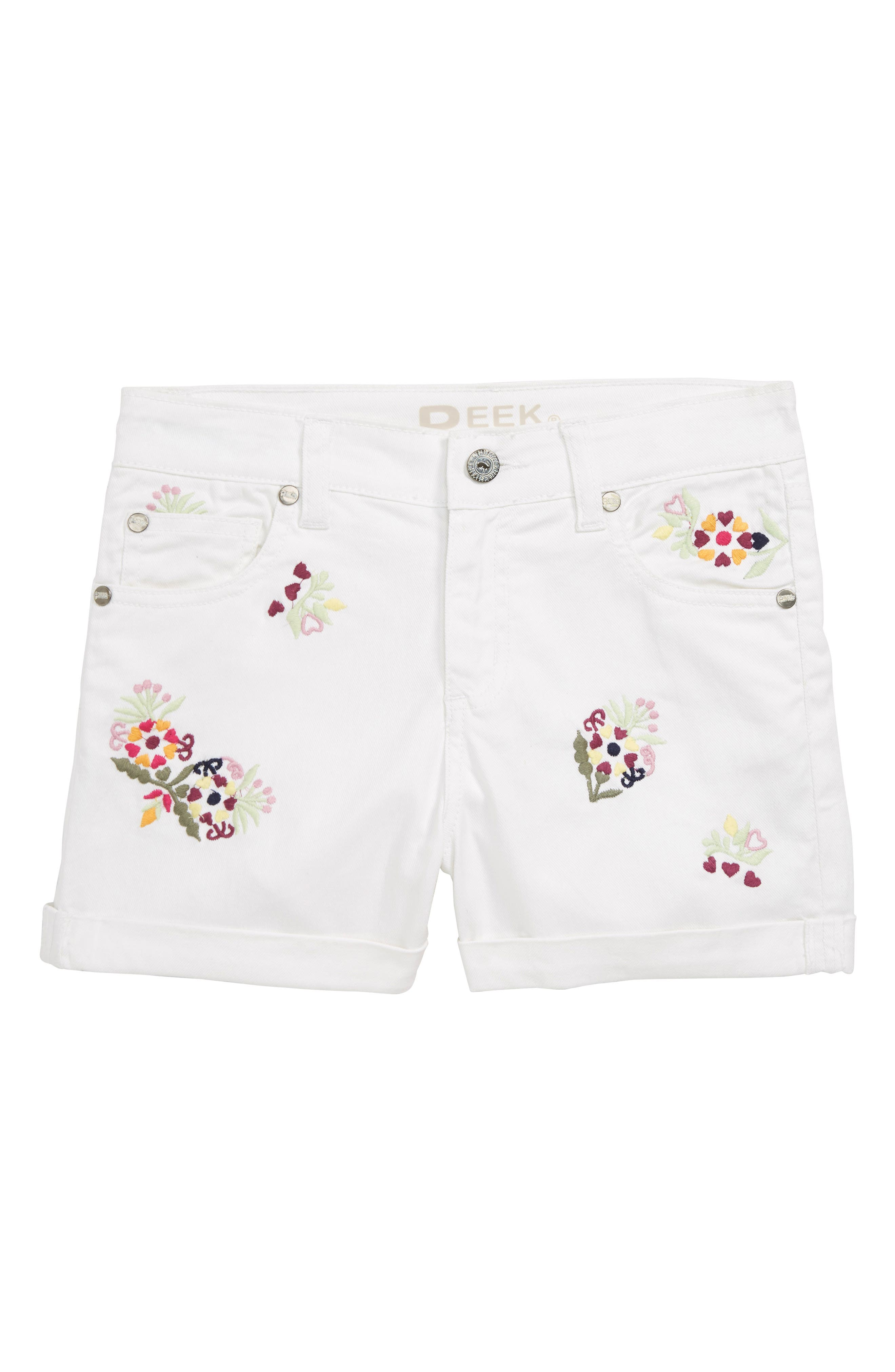Griffin Embroidered Cuffed Denim Shorts,                         Main,                         color, 100