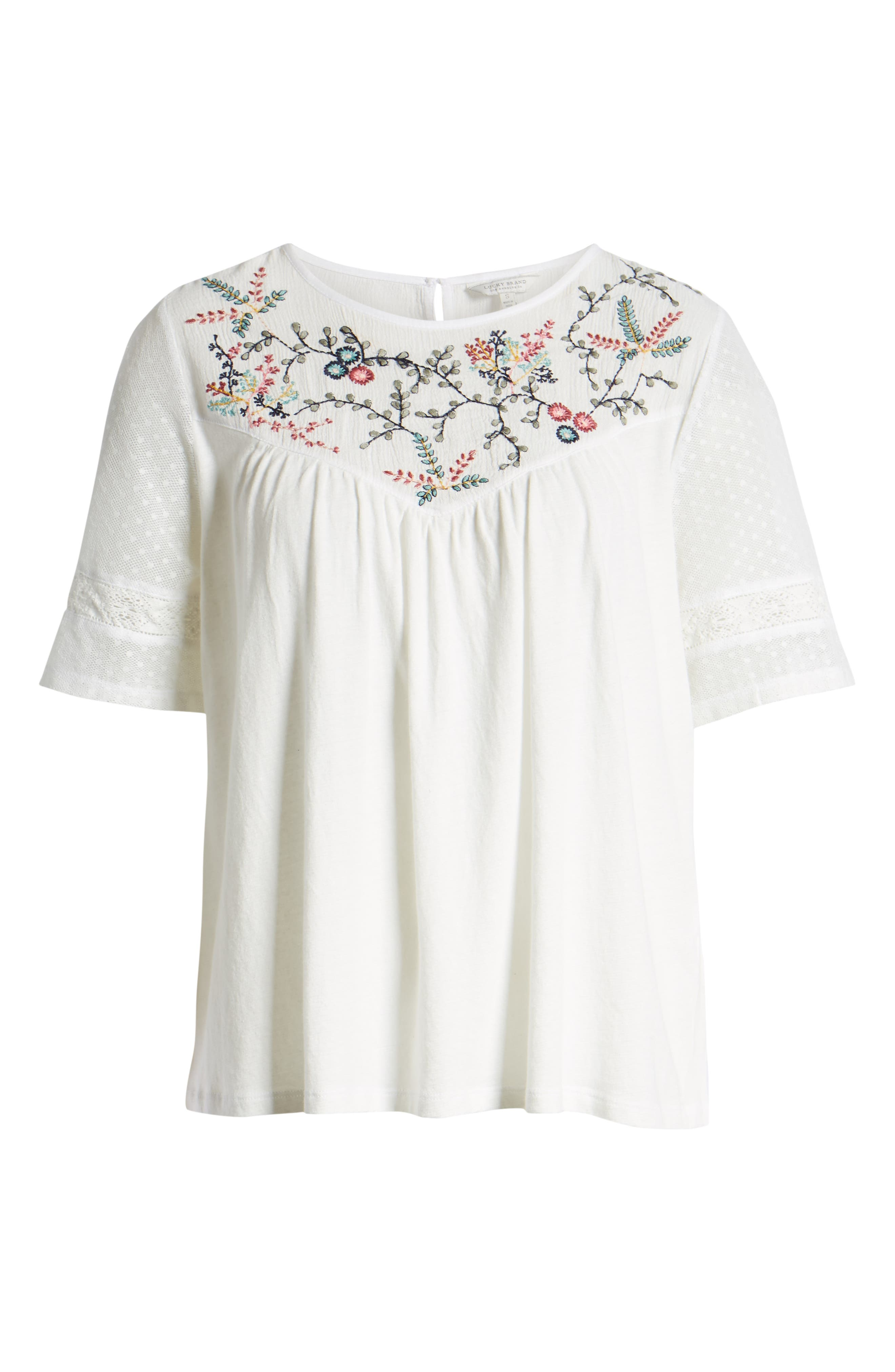 LUCKY BRAND,                             Embroidered Yoke Peasant Top,                             Alternate thumbnail 6, color,                             LUCKY WHITE