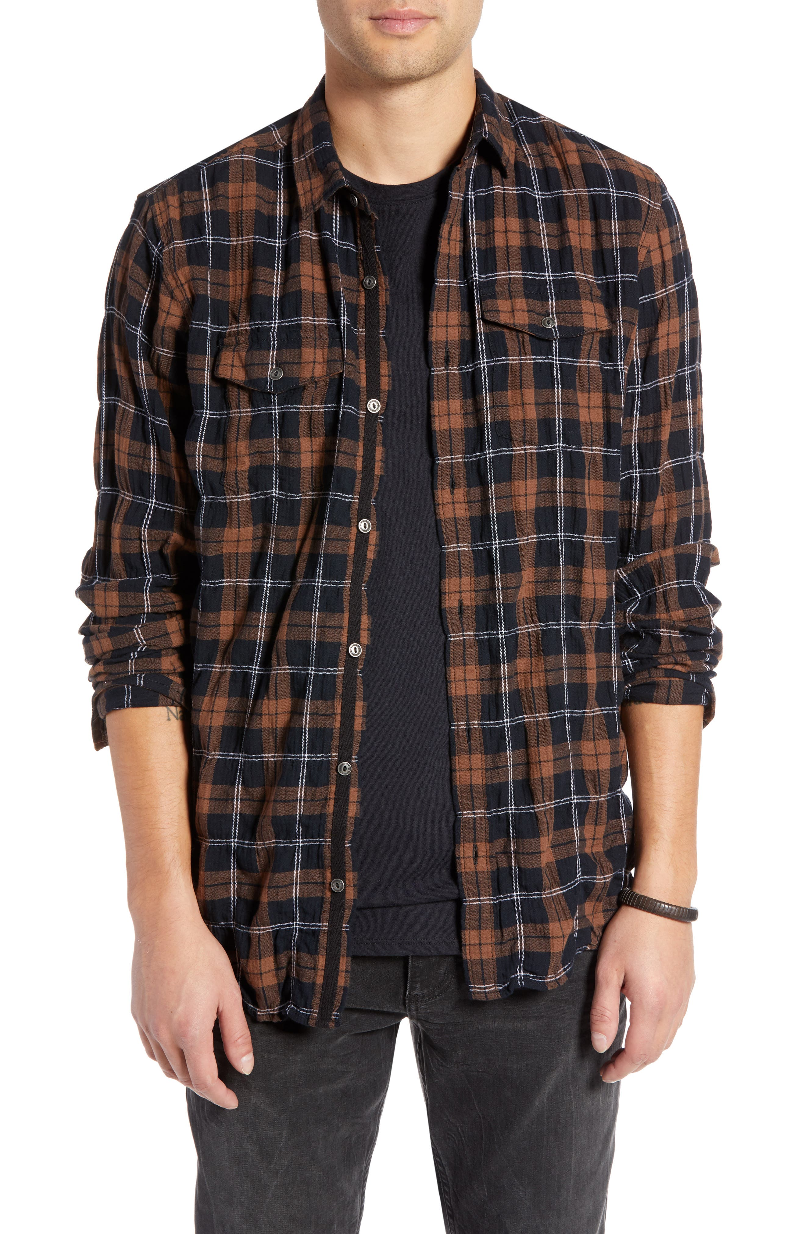 Regular Fit Plaid Sport Shirt,                             Main thumbnail 1, color,                             BLACK BROWN SMITH PLAID