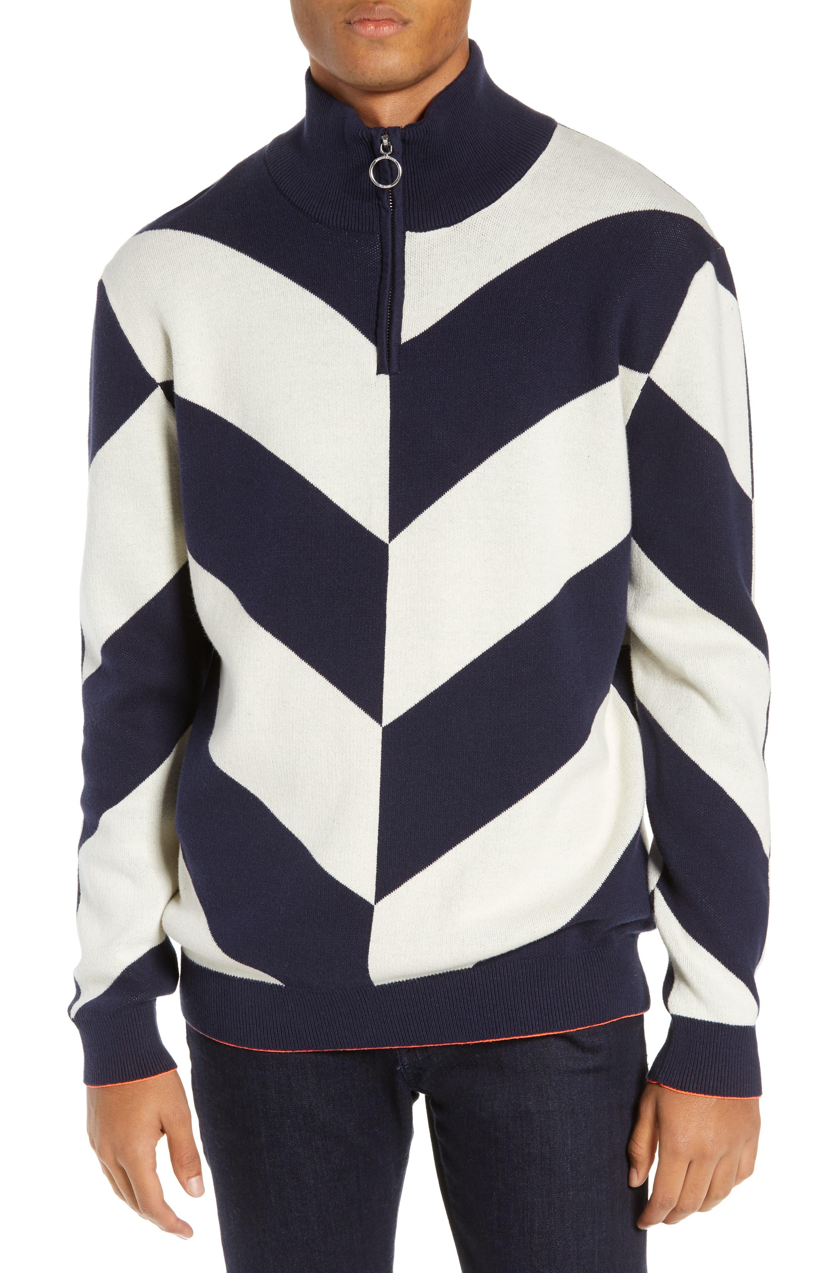 SCOTCH & SODA Alpine Colorblock Quarter Zip Pullover in Blue Combo