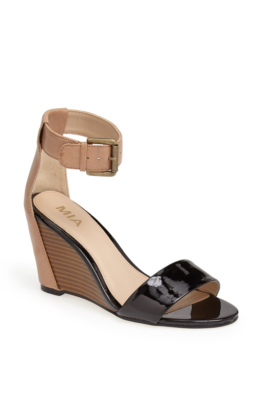 'Fiona' Colorblock Wedge Sandal,                             Main thumbnail 1, color,                             001