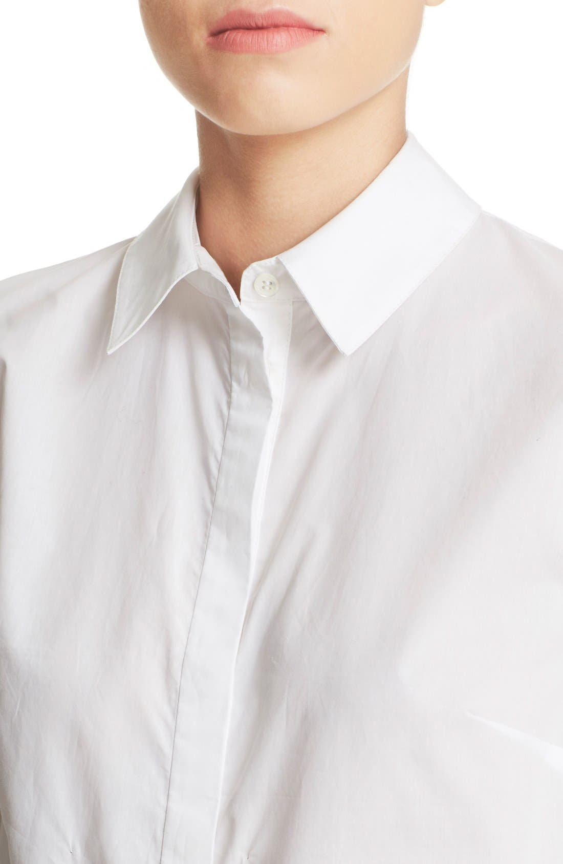 'Le Bowtie' Removable Tie Cotton Poplin Blouse,                             Alternate thumbnail 2, color,                             100
