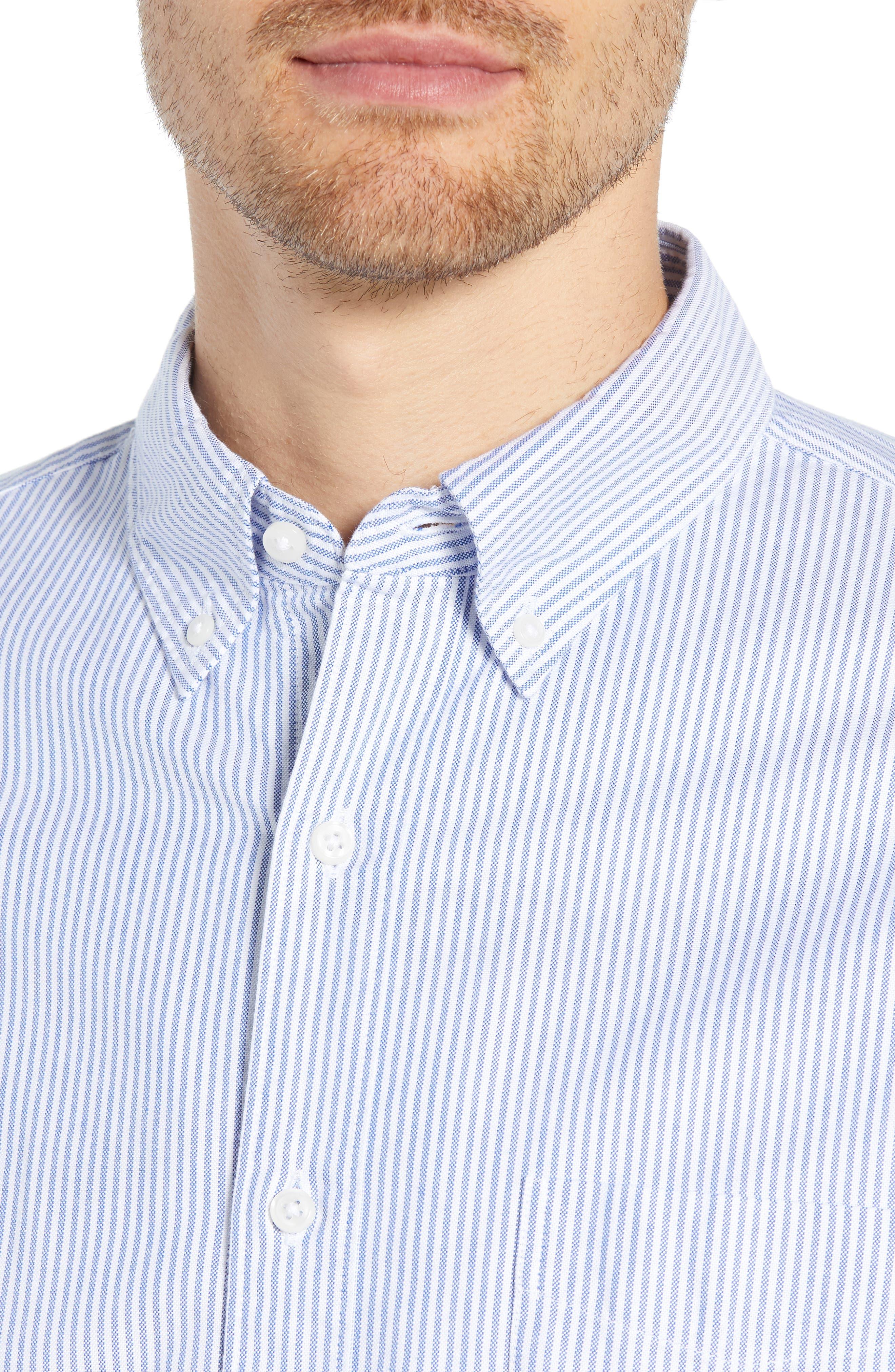 Stripe Pima Cotton Oxford Sport Shirt,                             Alternate thumbnail 2, color,                             RAINCOAT BLUE