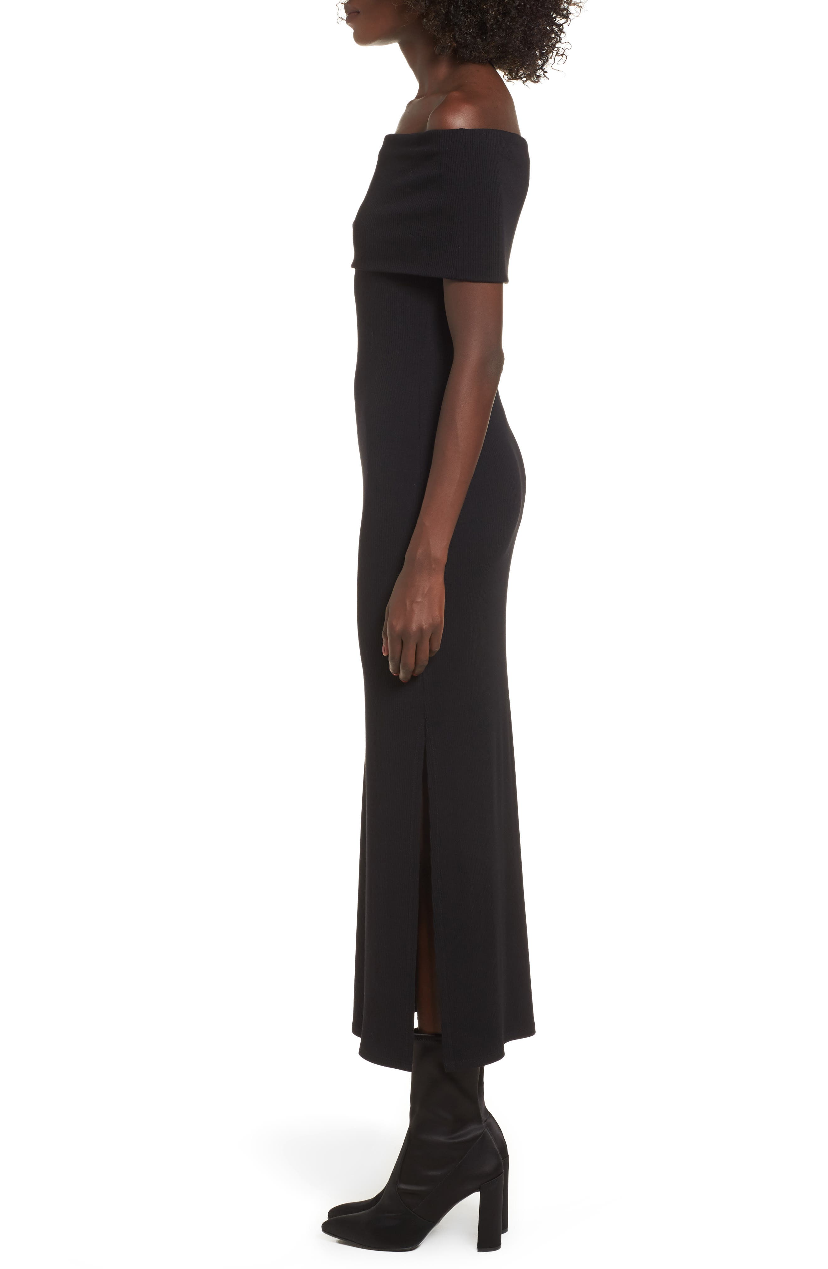 Foldover Off the Shoulder Ribbed Maxi Dress,                             Alternate thumbnail 3, color,                             001