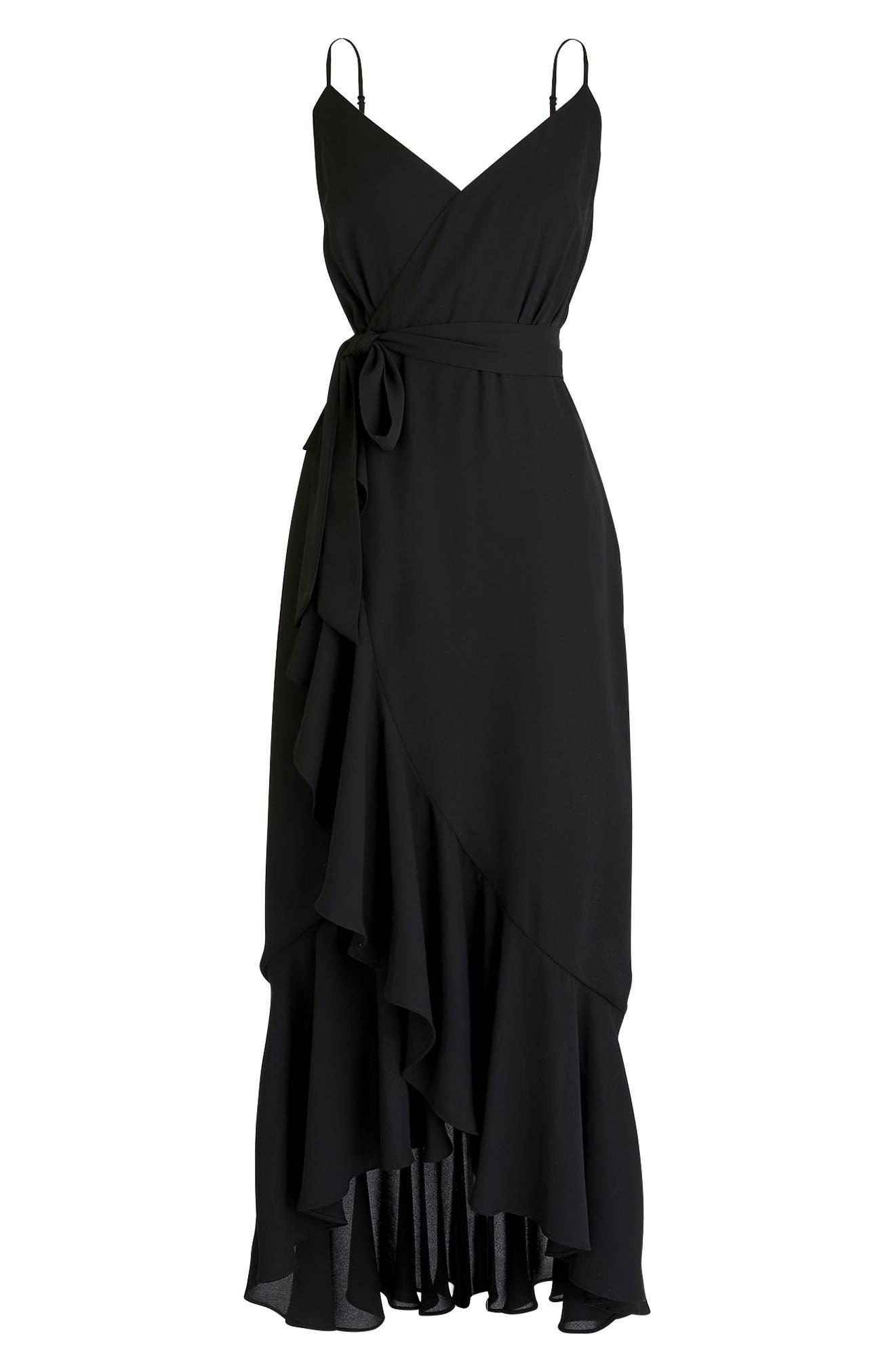 Ruffle Faux Wrap Midi Dress,                             Main thumbnail 1, color,                             001