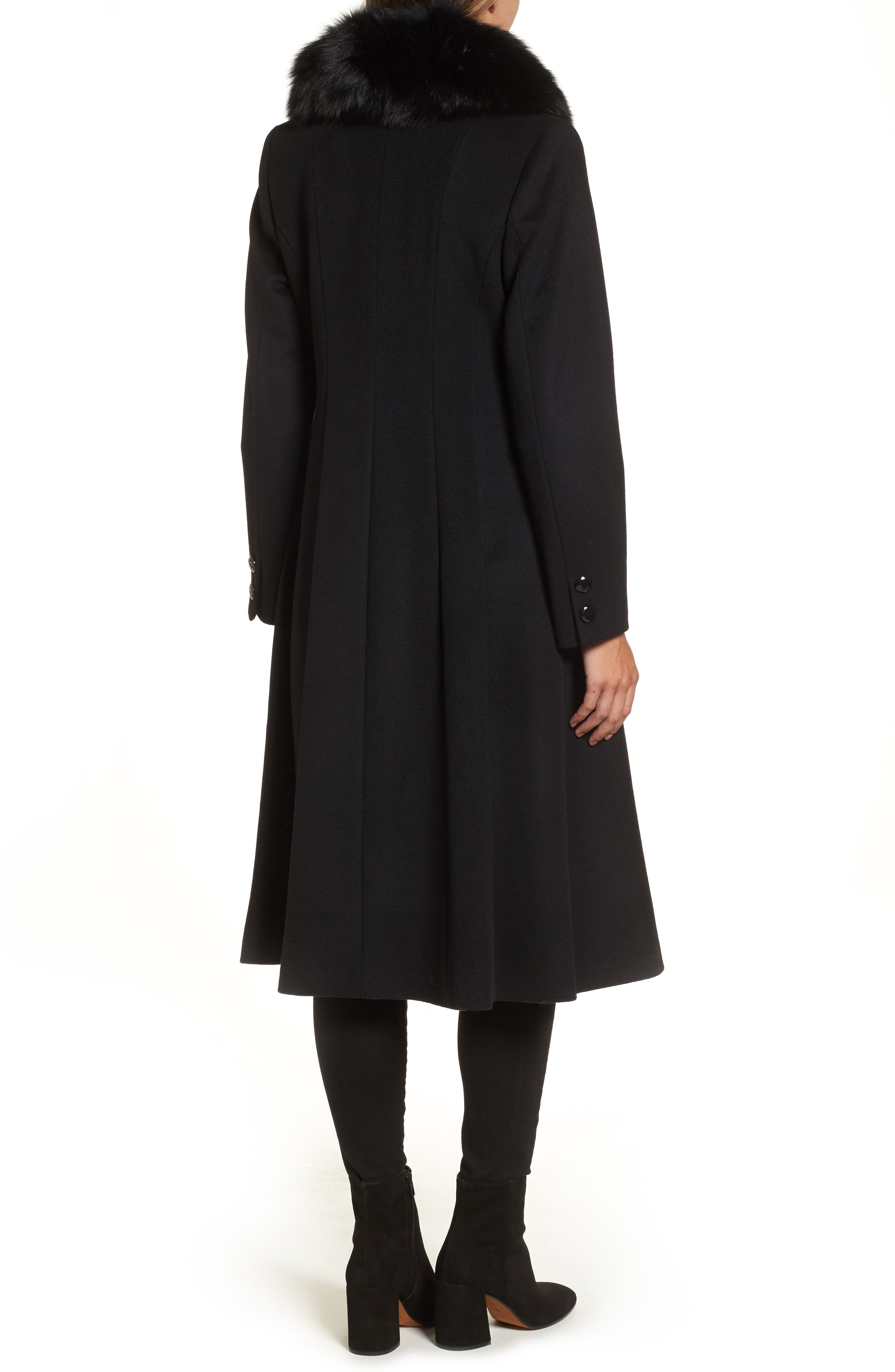 Couture Long Wool Blend Coat with Genuine Fox Fur Collar,                             Alternate thumbnail 2, color,                             001
