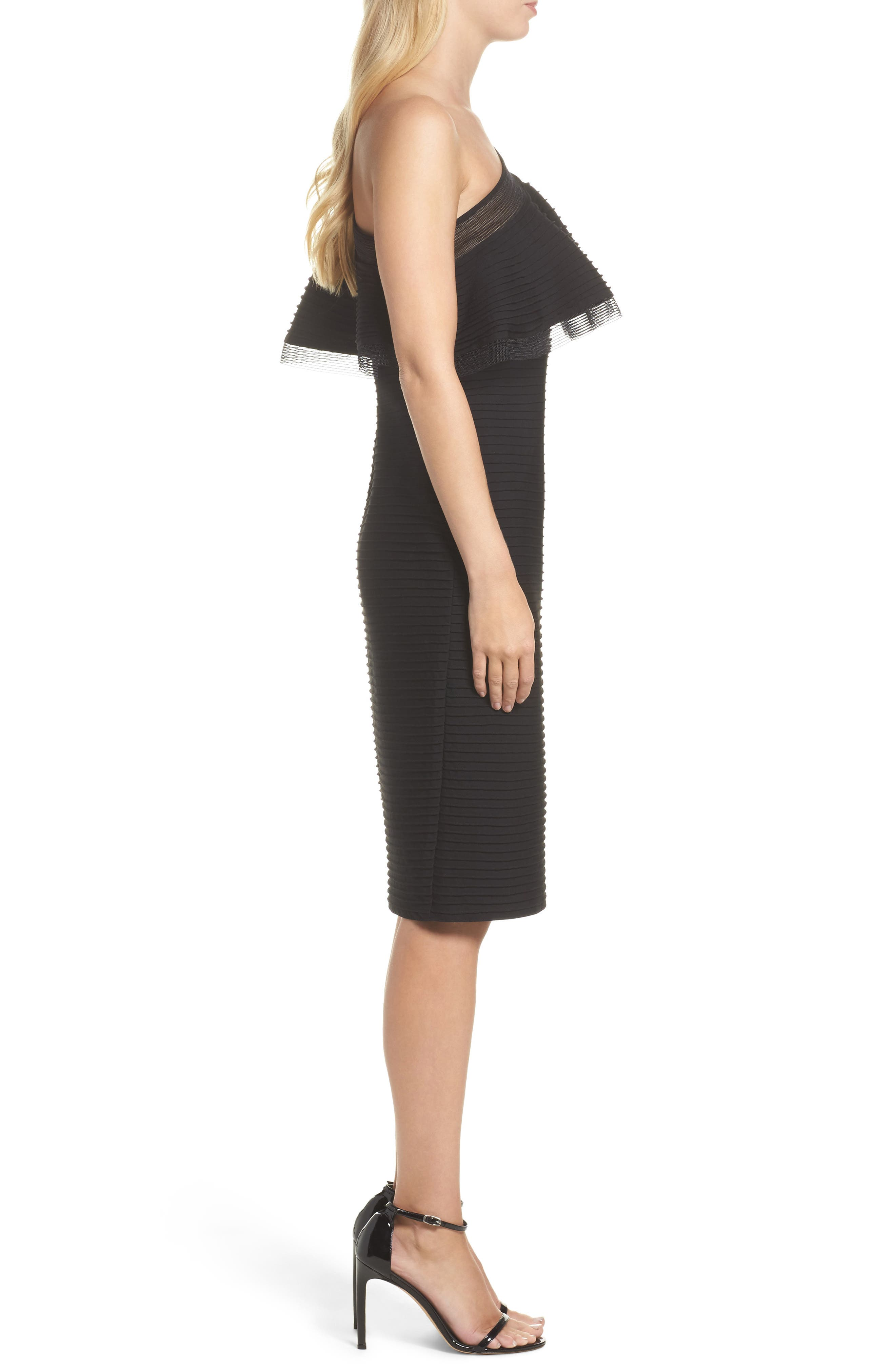 Pintuck One-Shoulder Dress,                             Alternate thumbnail 3, color,                             001