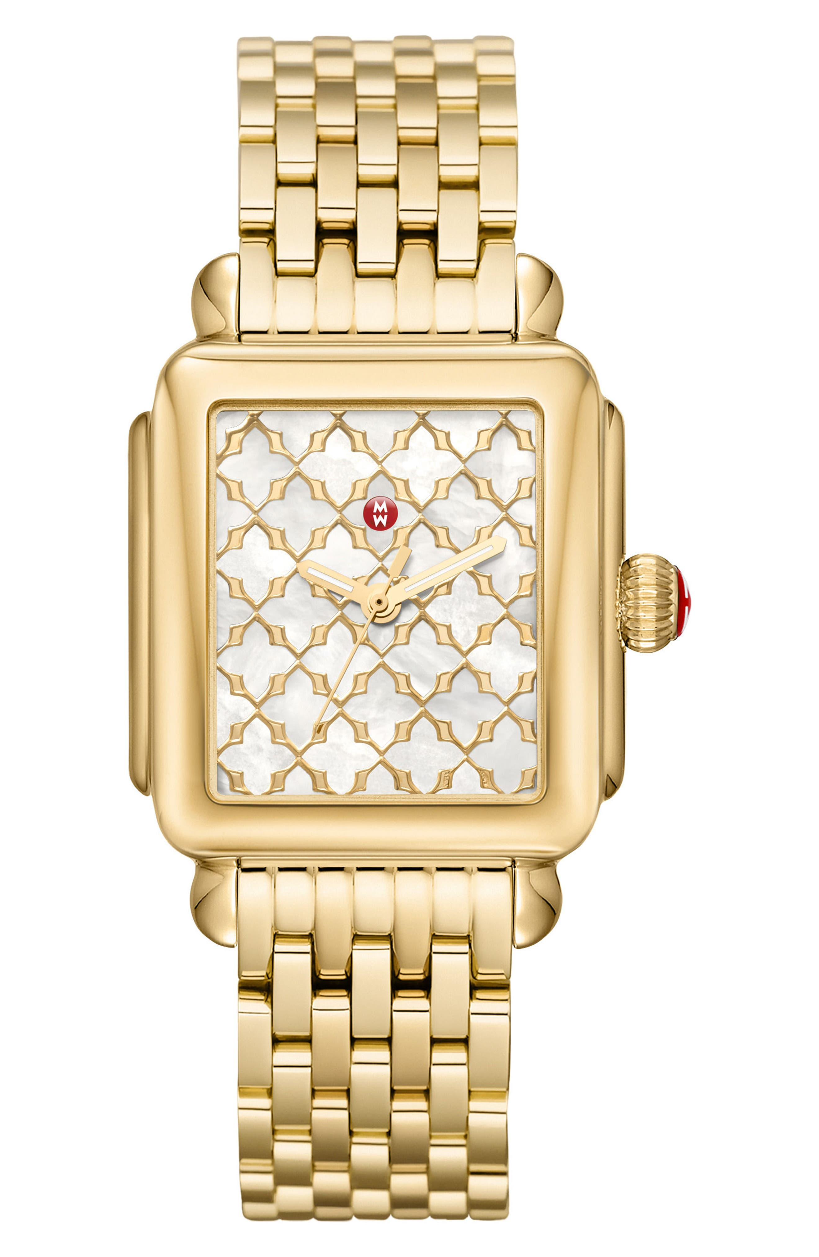 Deco Mosaic Square Watch Head, 33mm x 35mm,                             Alternate thumbnail 4, color,                             GOLD/ MOP