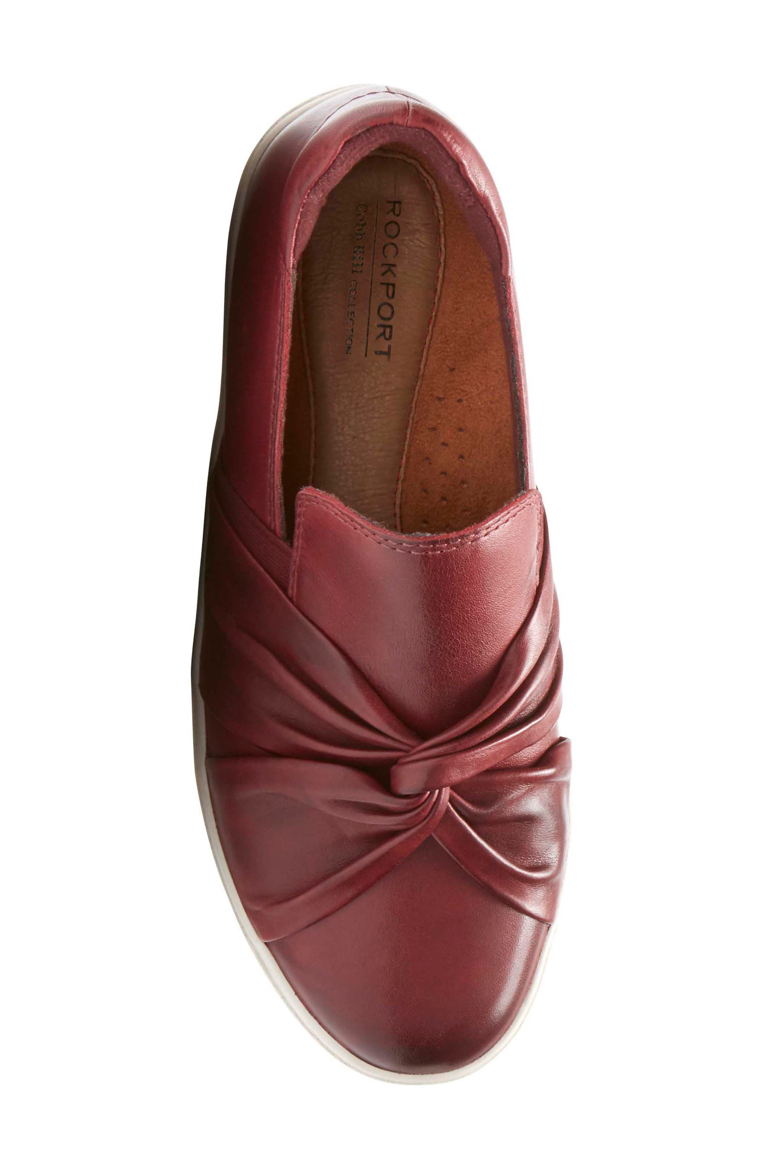 Willa Bow Slip-On,                             Alternate thumbnail 5, color,                             WINE LEATHER