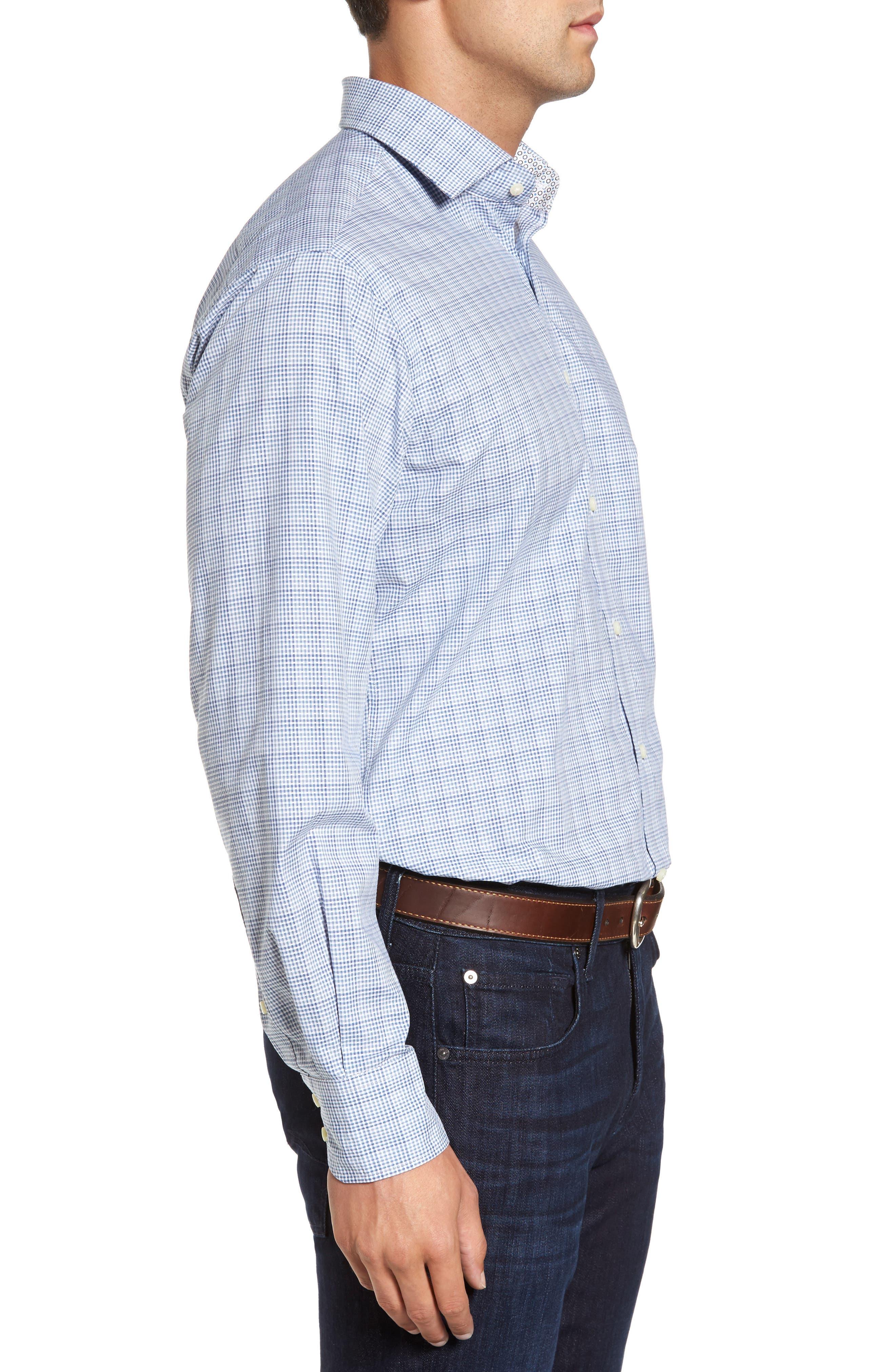 Regular Fit Dobby Check Sport Shirt,                             Alternate thumbnail 3, color,                             400