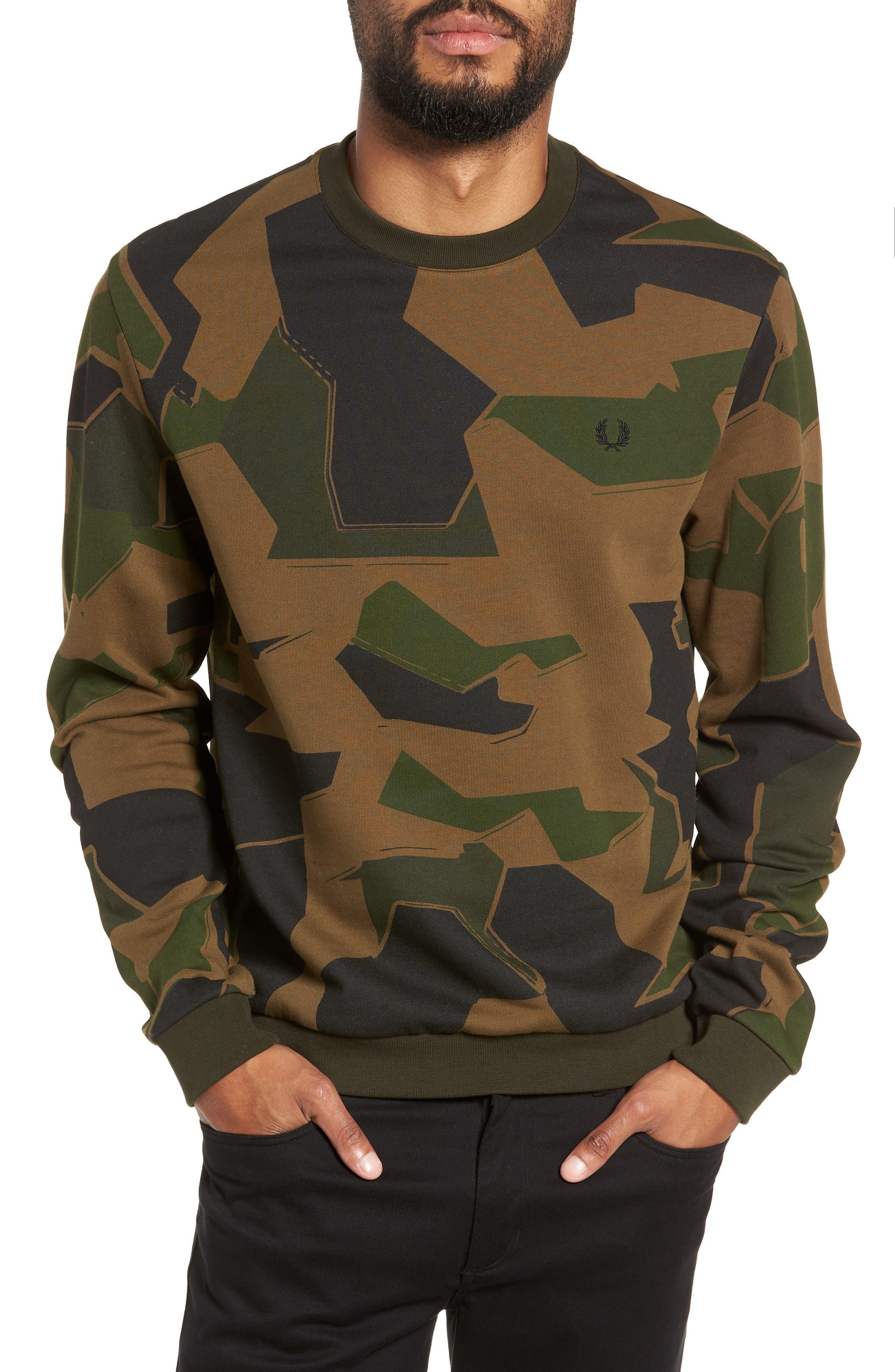 Camoflage Sweatshirt,                         Main,                         color, WOODLAND CAMO