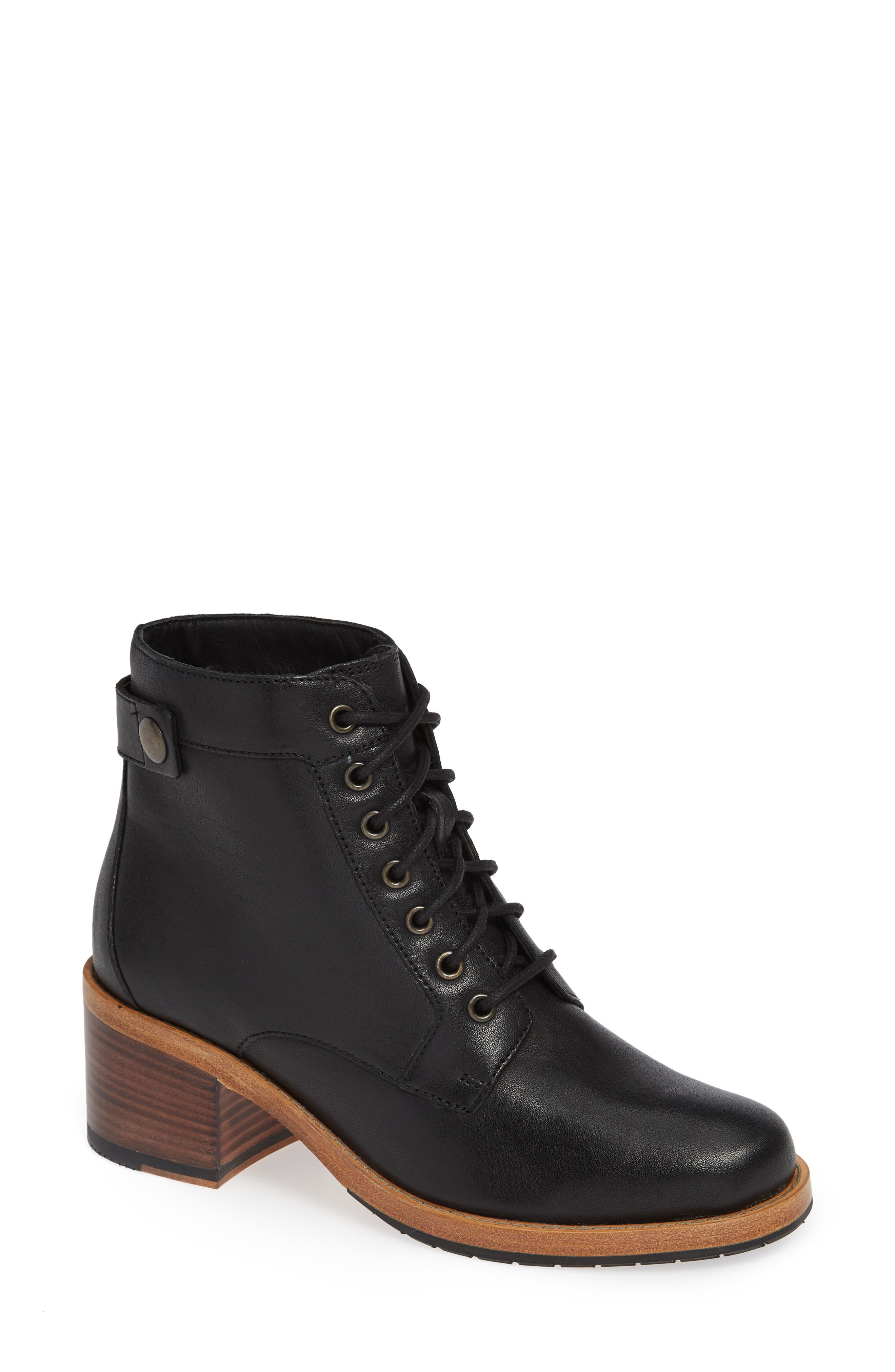 Clarkdale Combat Boot,                             Main thumbnail 1, color,                             BLACK LEATHER