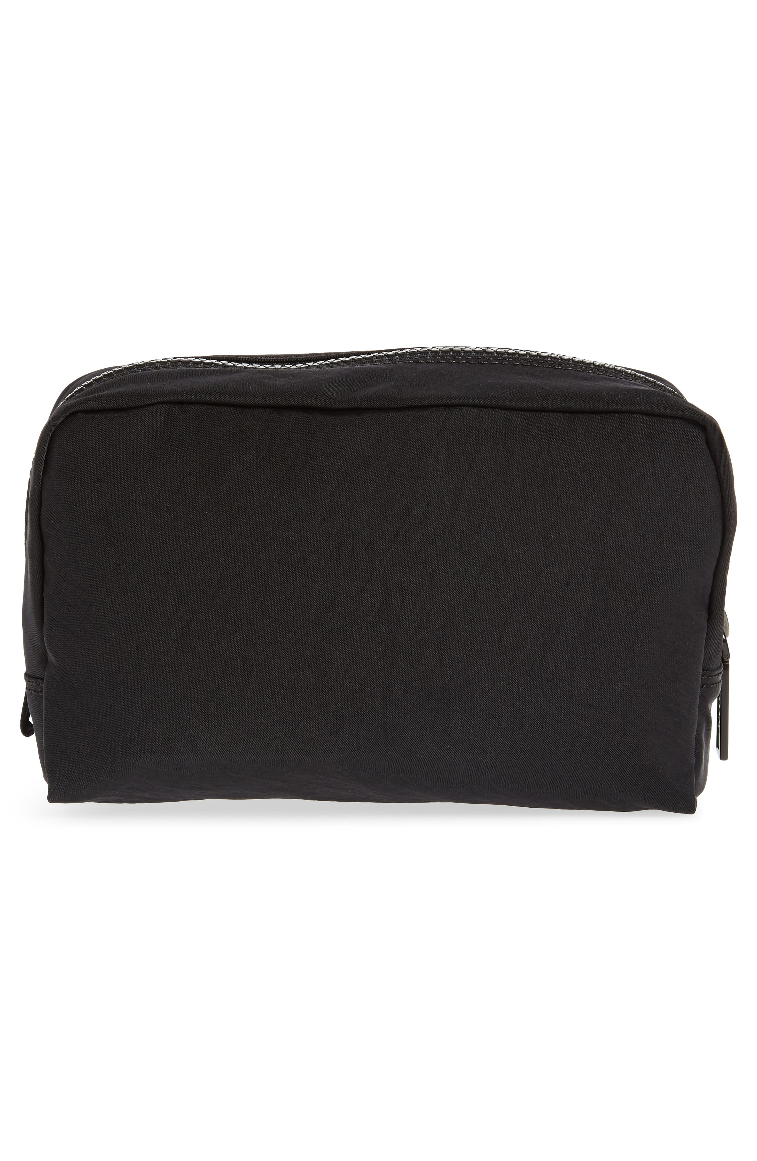 Nylon Cosmetics Pouch,                             Alternate thumbnail 2, color,                             BLACK