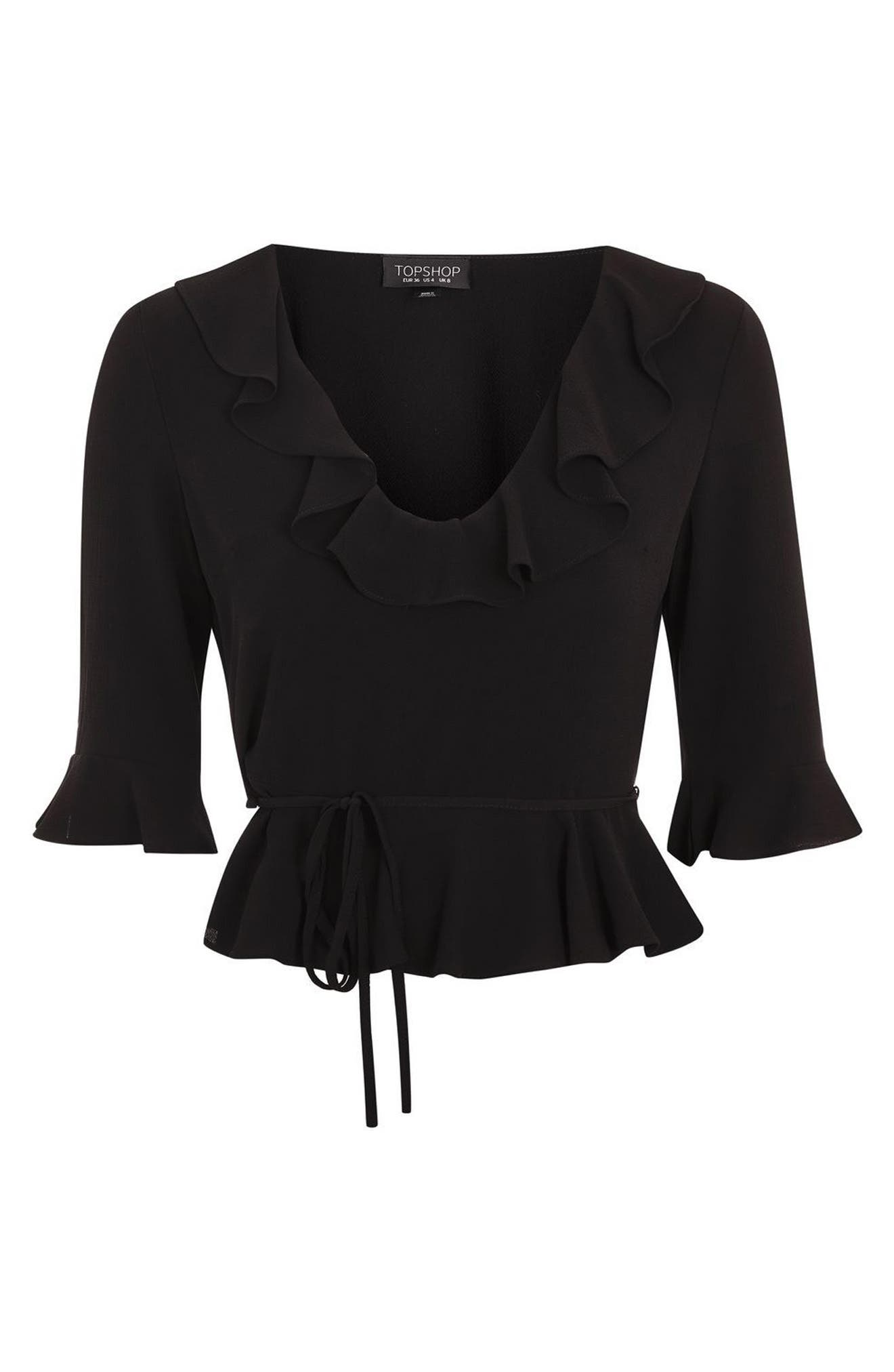 Phoebe Frilly Blouse,                             Alternate thumbnail 4, color,                             001