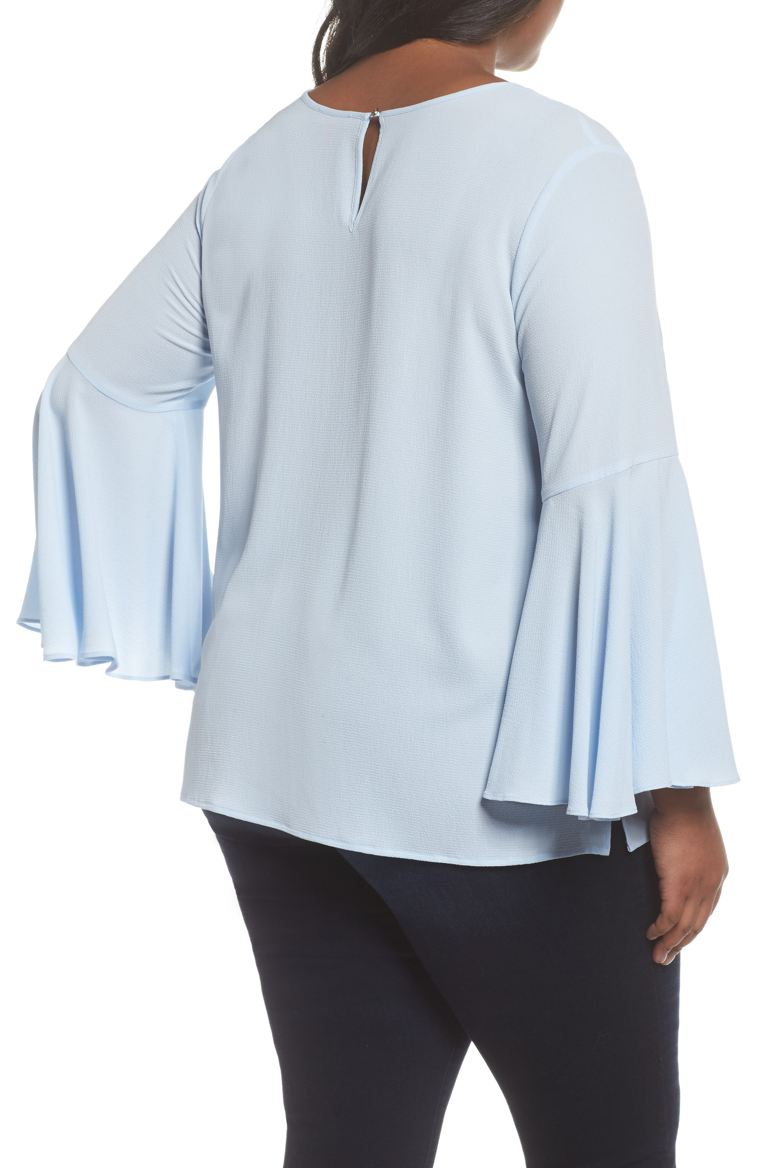 Bell Sleeve Blouse,                             Alternate thumbnail 2, color,                             LIGHT CAMEO BLUE
