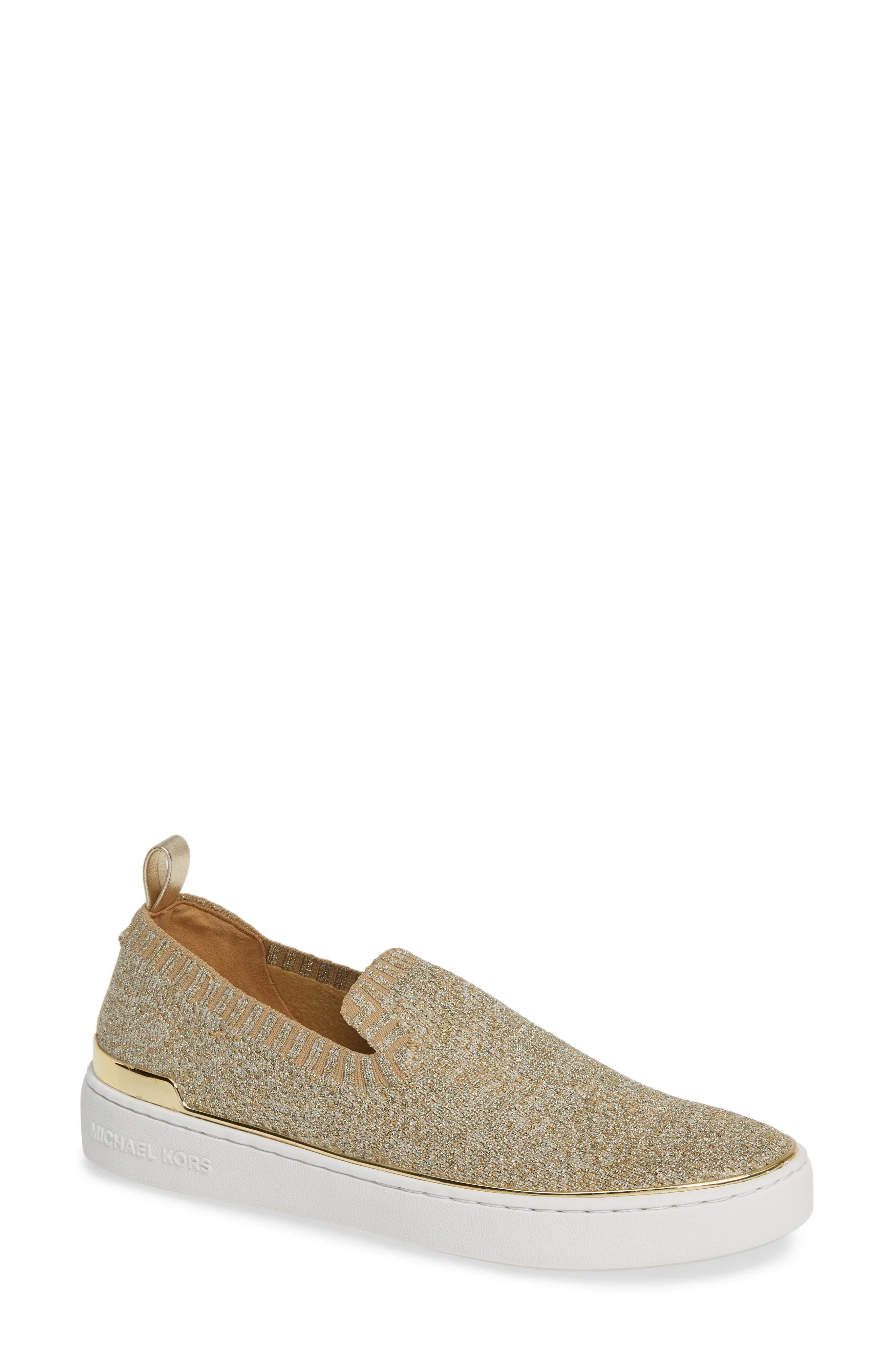 Women'S Skyler Knit Slip-On Sneakers in Gold/ Silver Fabric