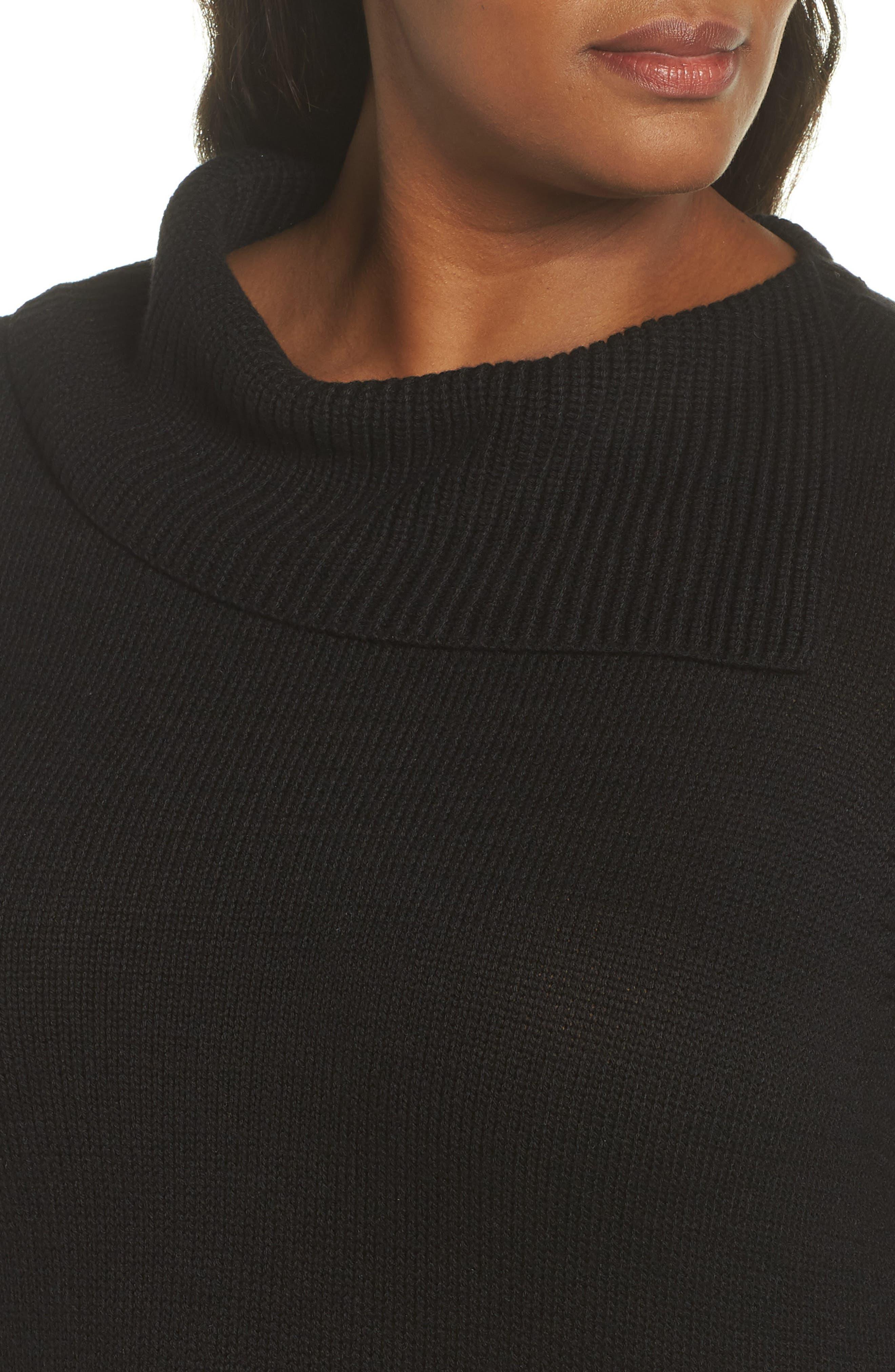 Split Neck Sweater,                             Alternate thumbnail 4, color,                             BLACK