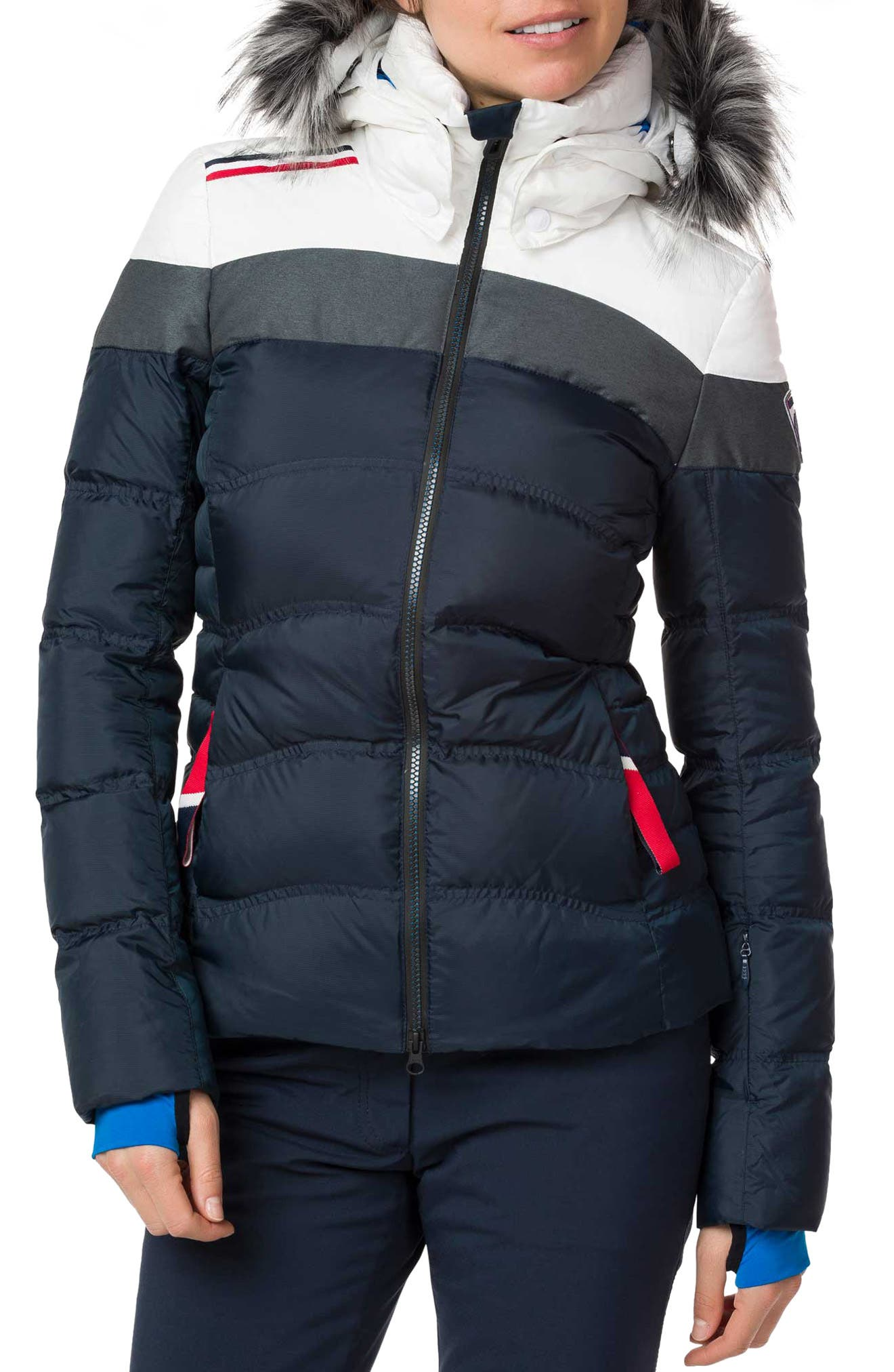 Rossignol Hiver Tailored Fit Waterproof 750-Fill-Power Down Jacket With Faux Fur Trim, Blue