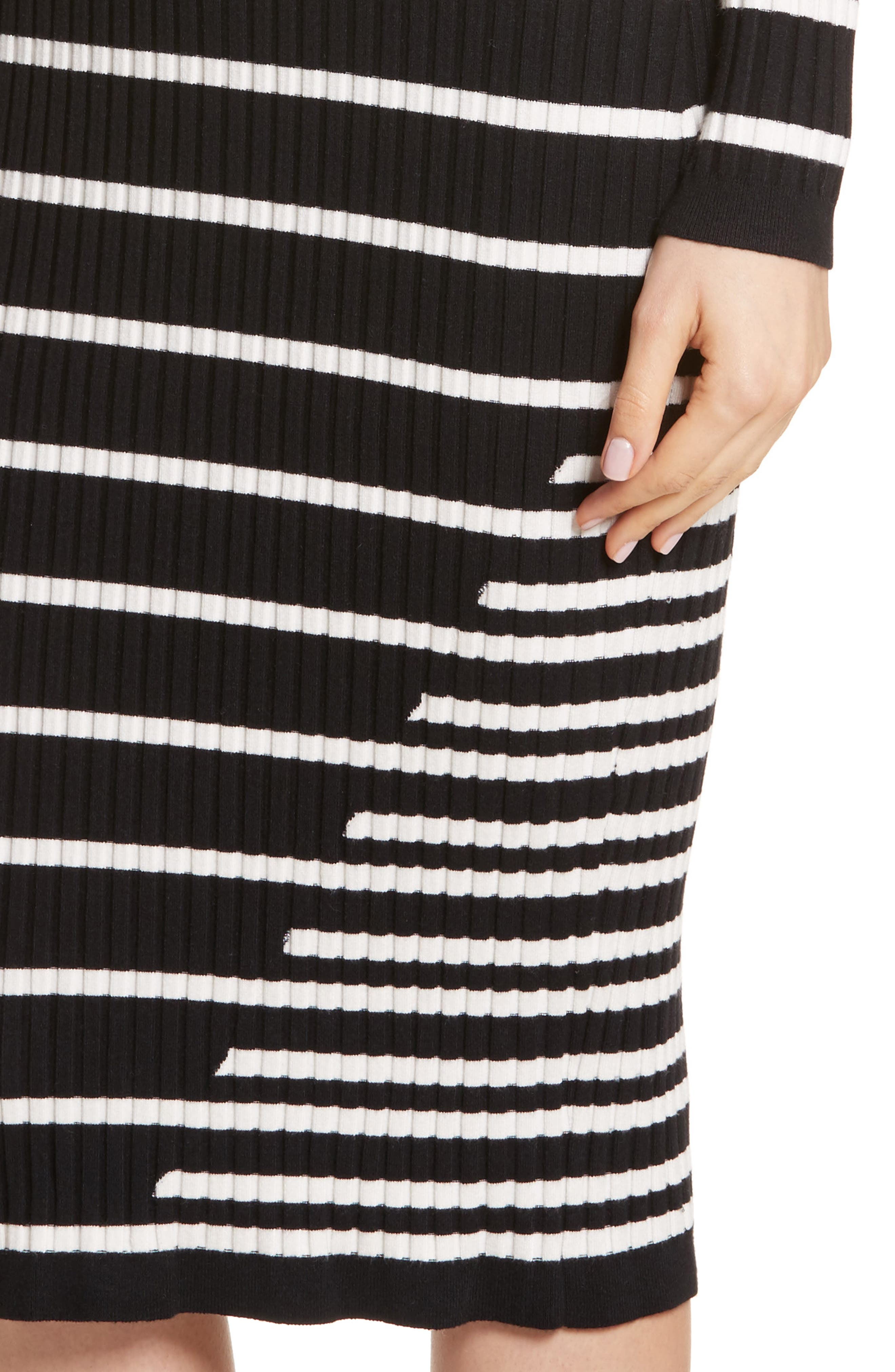 Stripe Knit Turtleneck Dress,                             Alternate thumbnail 4, color,                             004