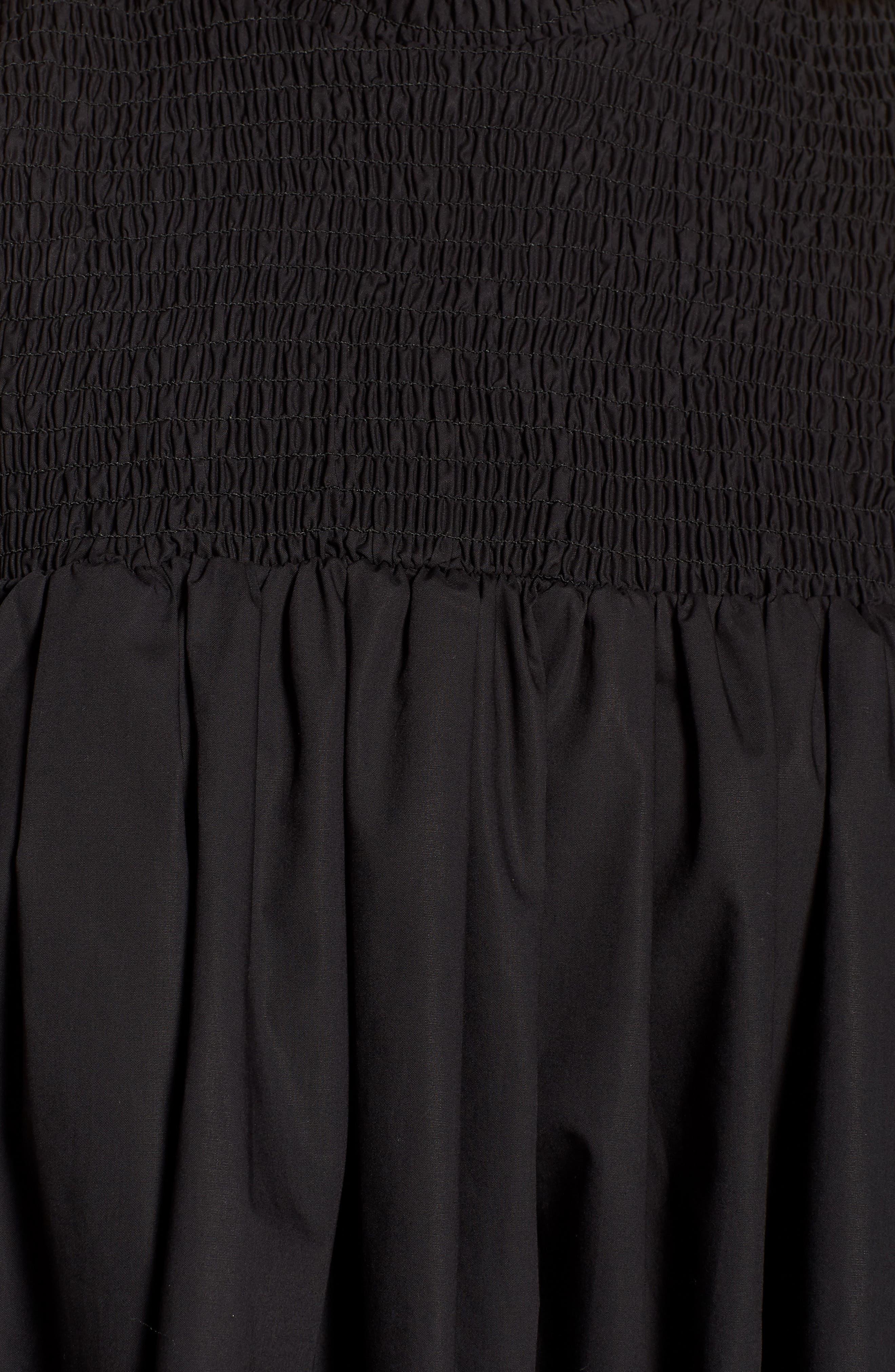 Ivy Cold Shoulder Dress,                             Alternate thumbnail 5, color,                             BLACK COTTON