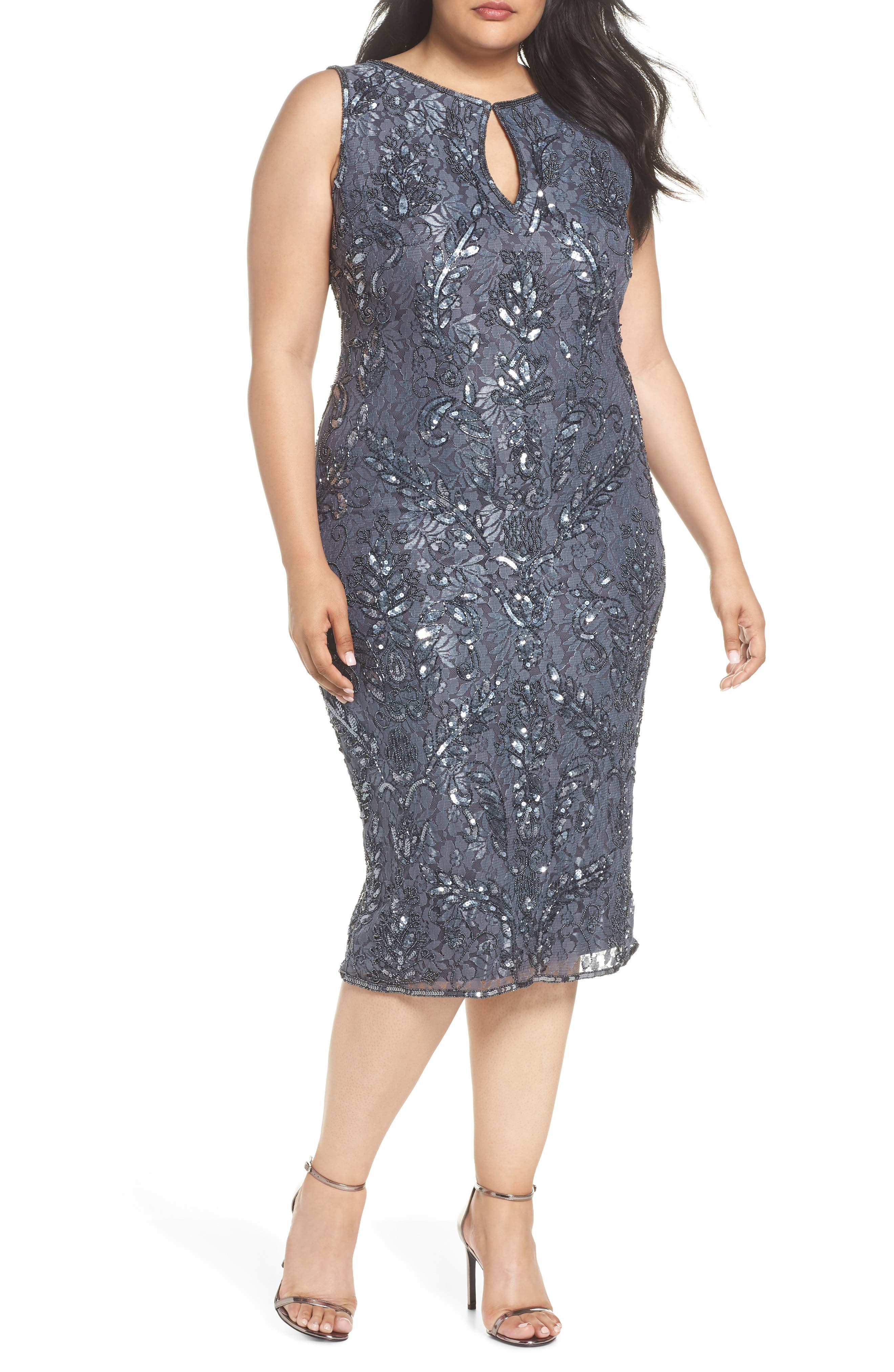 Sequin Lace Sheath Dress,                         Main,                         color, 020
