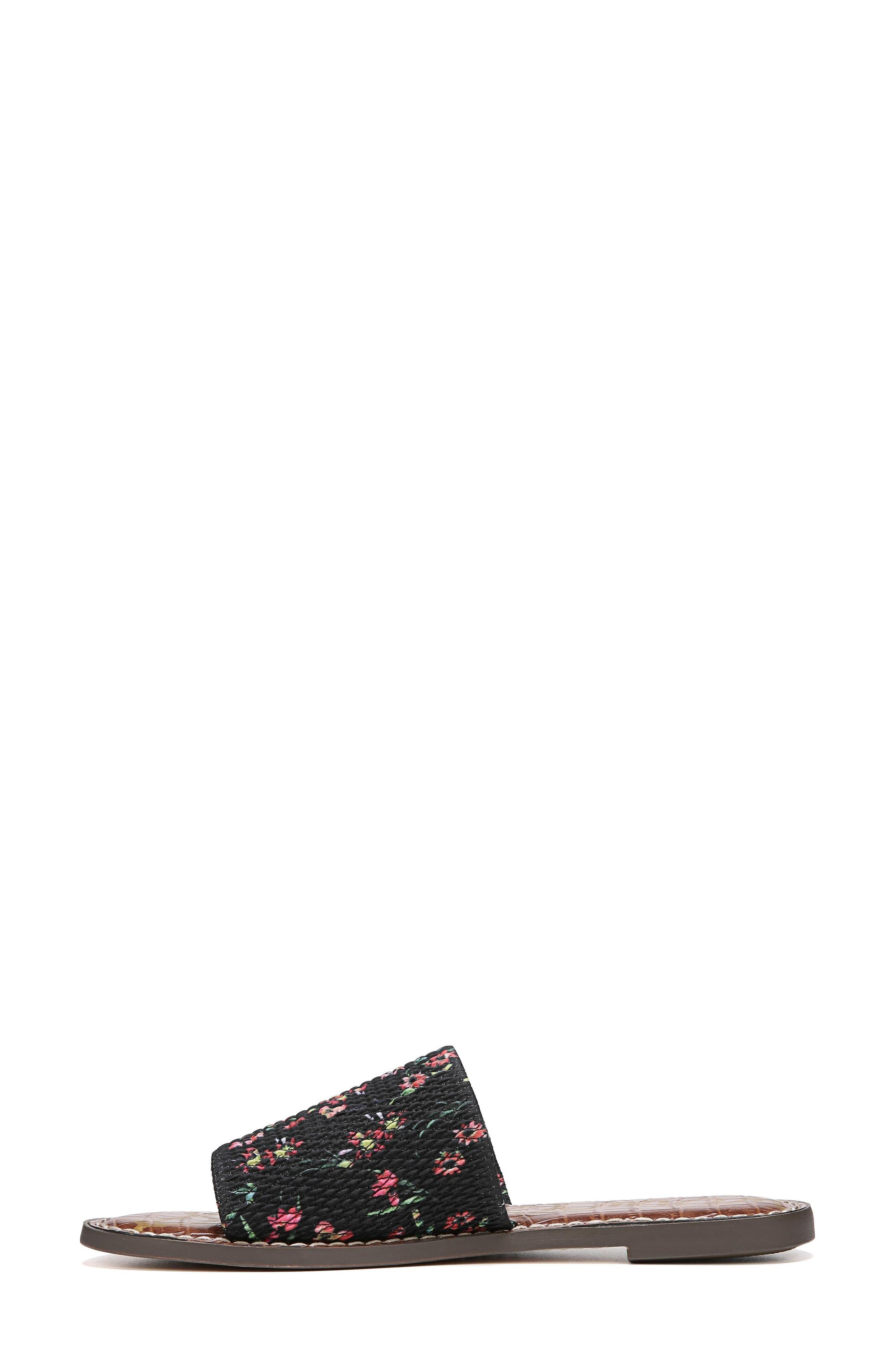 Gio Slide Sandal,                             Alternate thumbnail 3, color,                             BLACK FLORAL PRINT FABRIC