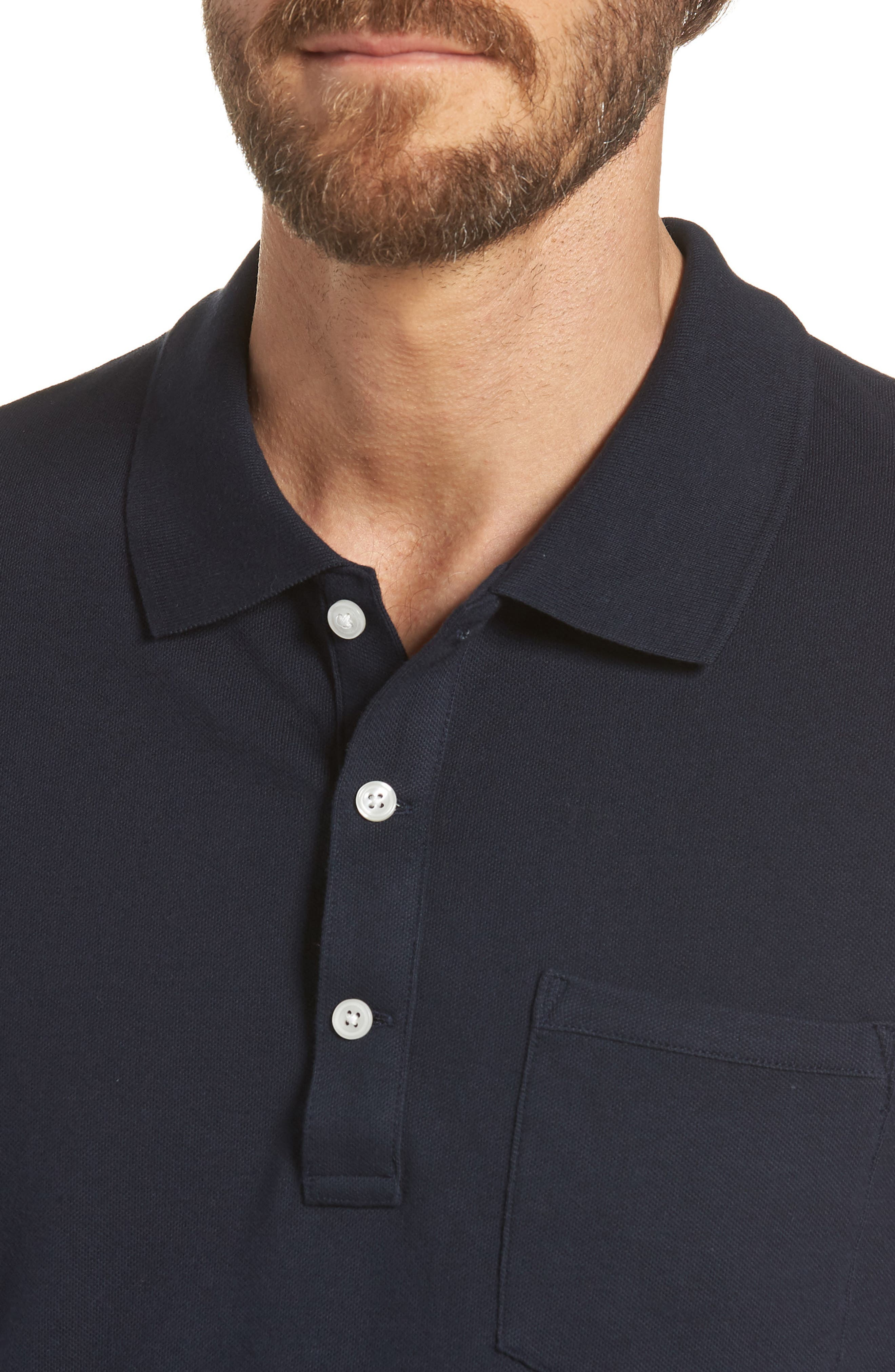 Stretch Cotton Polo Shirt,                             Alternate thumbnail 4, color,                             NAVY