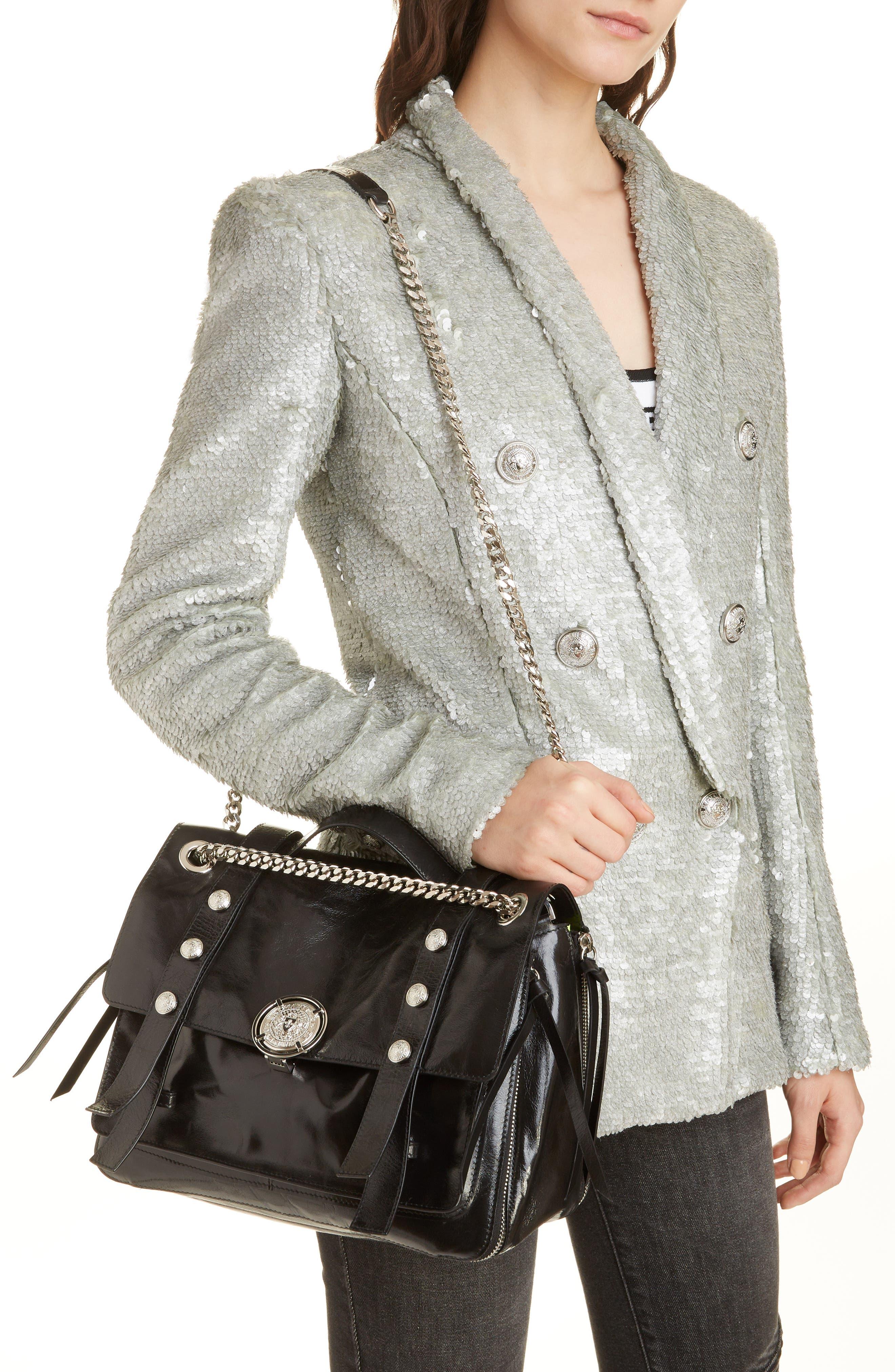 Studded Calfskin Leather Shoulder Bag,                             Alternate thumbnail 2, color,                             001
