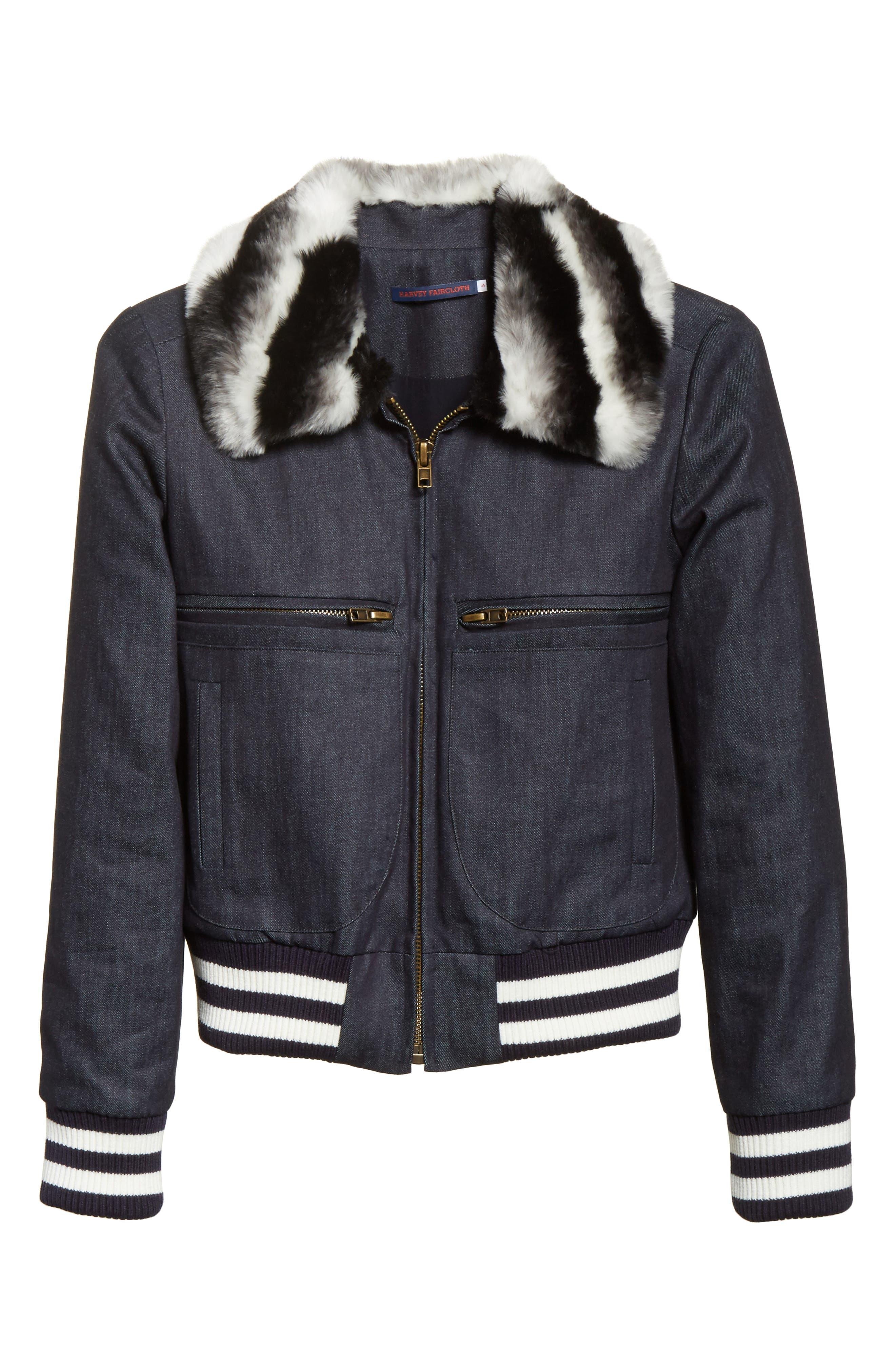 Faux Fur Collar Bomber Jacket,                             Alternate thumbnail 5, color,                             400