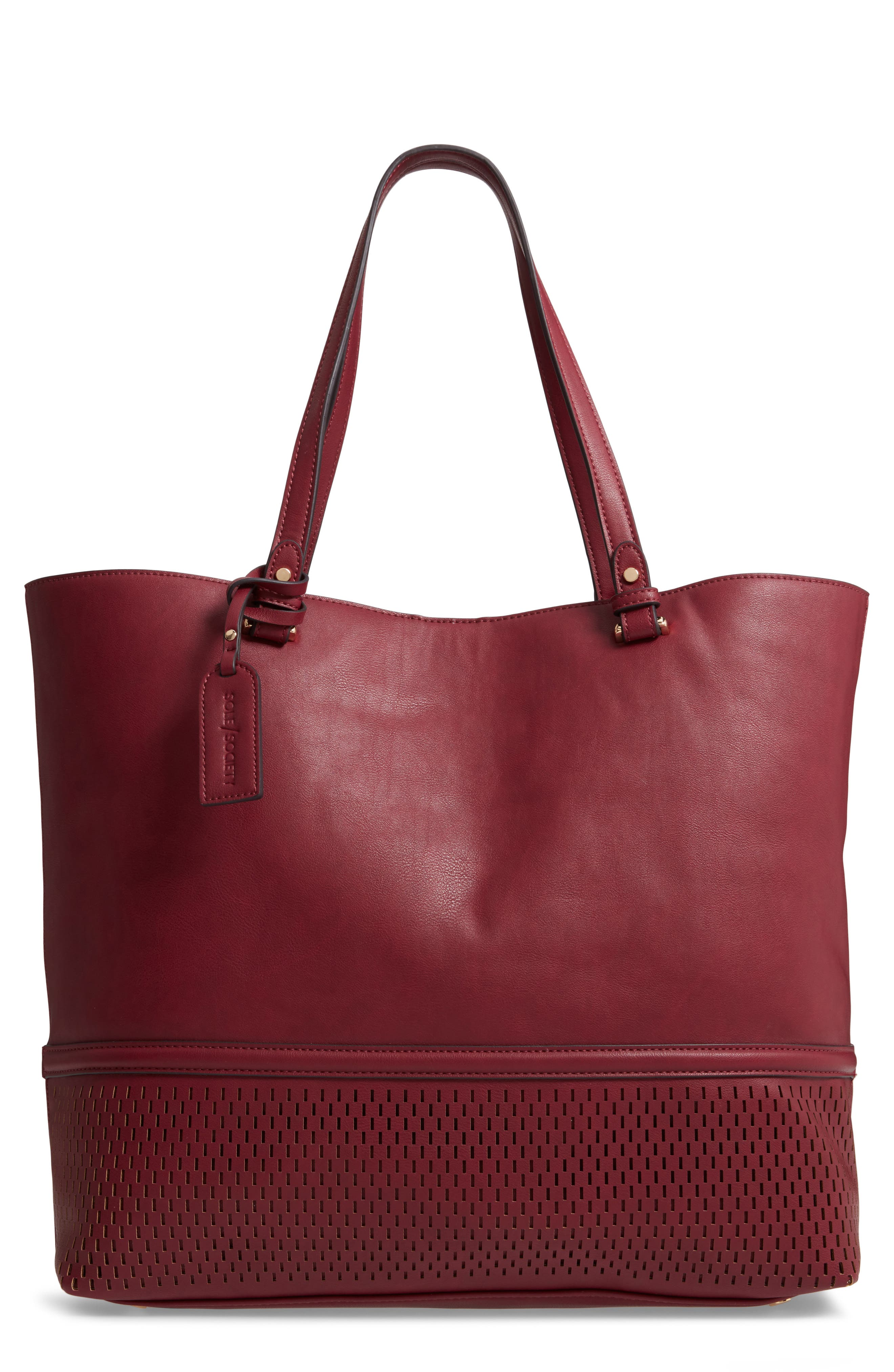 Oversize Faux Leather Tote,                             Main thumbnail 1, color,                             BERRY