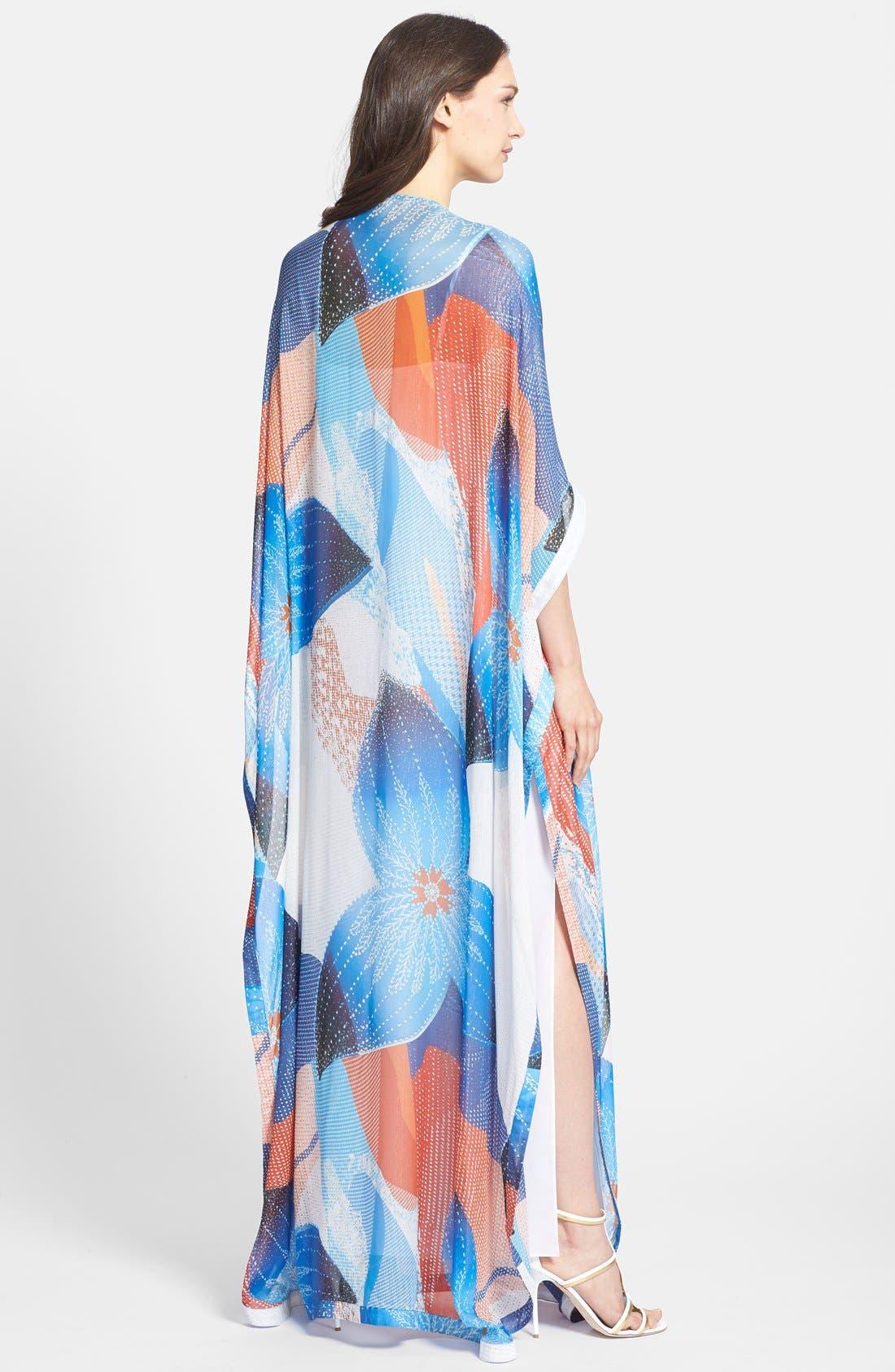 'Clare' Beaded Print Silk Blend Caftan,                             Alternate thumbnail 3, color,