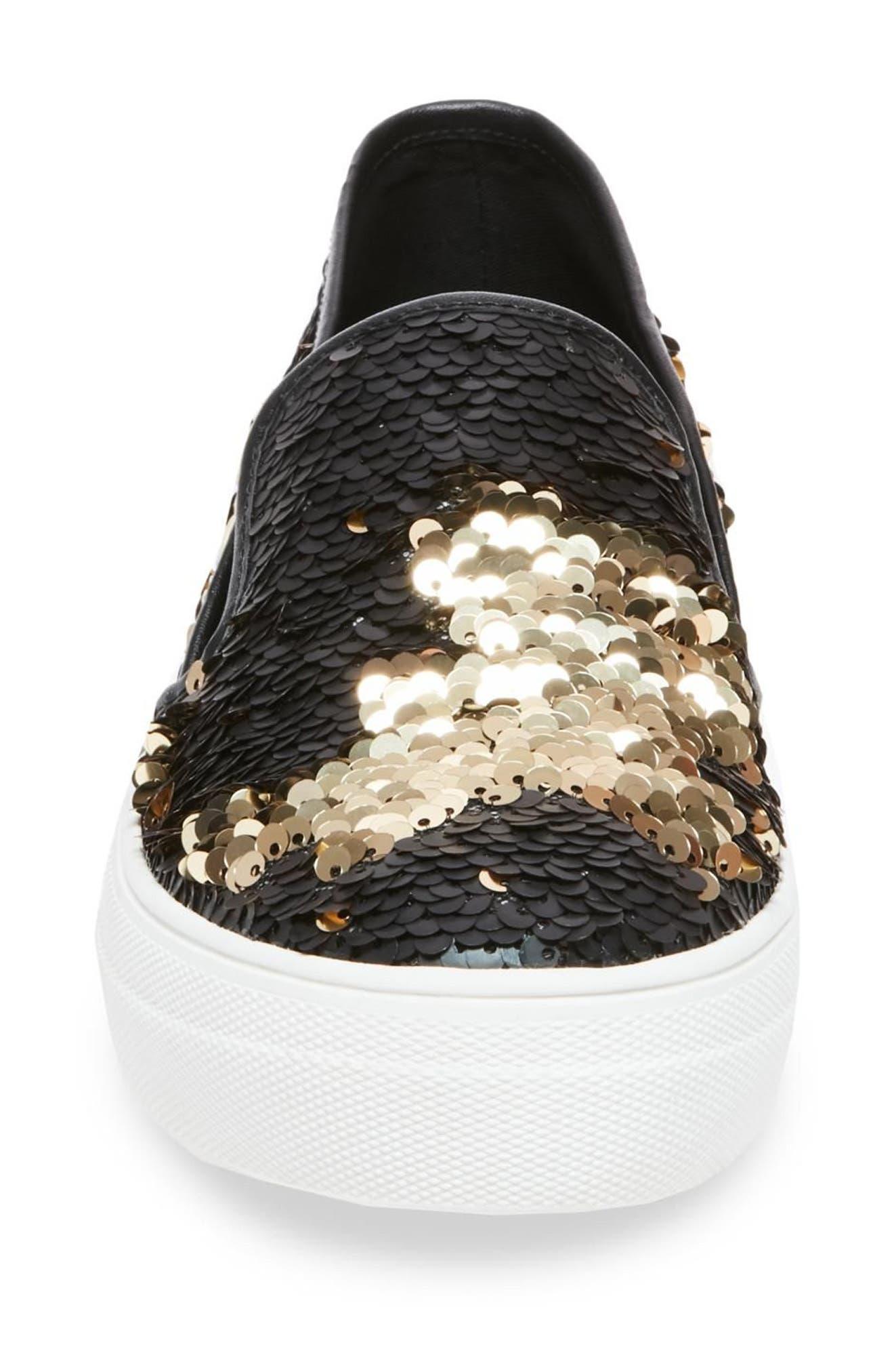 Gills Sequined Slip-On Platform Sneaker,                             Alternate thumbnail 4, color,                             001